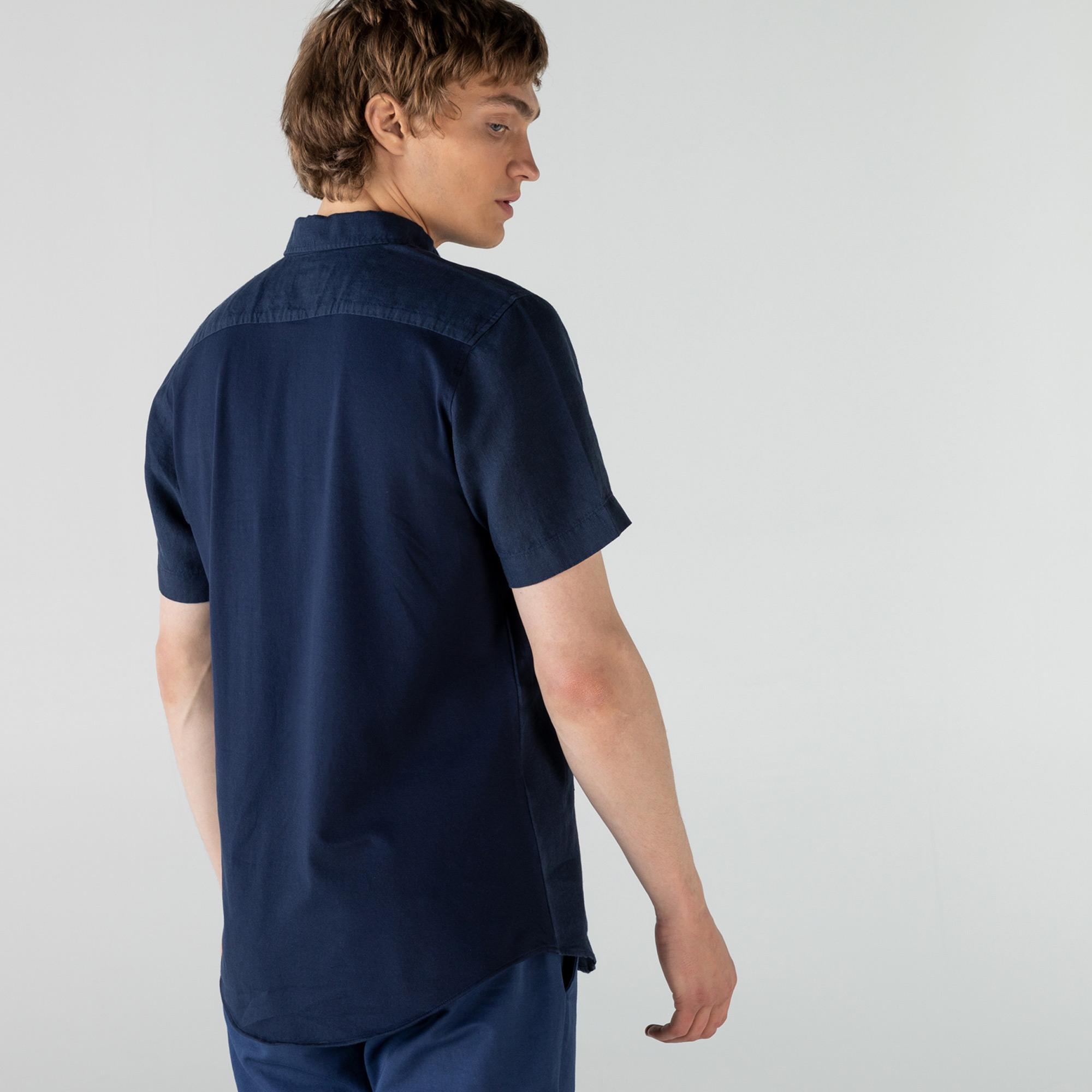 Lacoste Erkek Regular Fit Düğmeli Yaka Keten Kısa Kollu Lacivert Gömlek