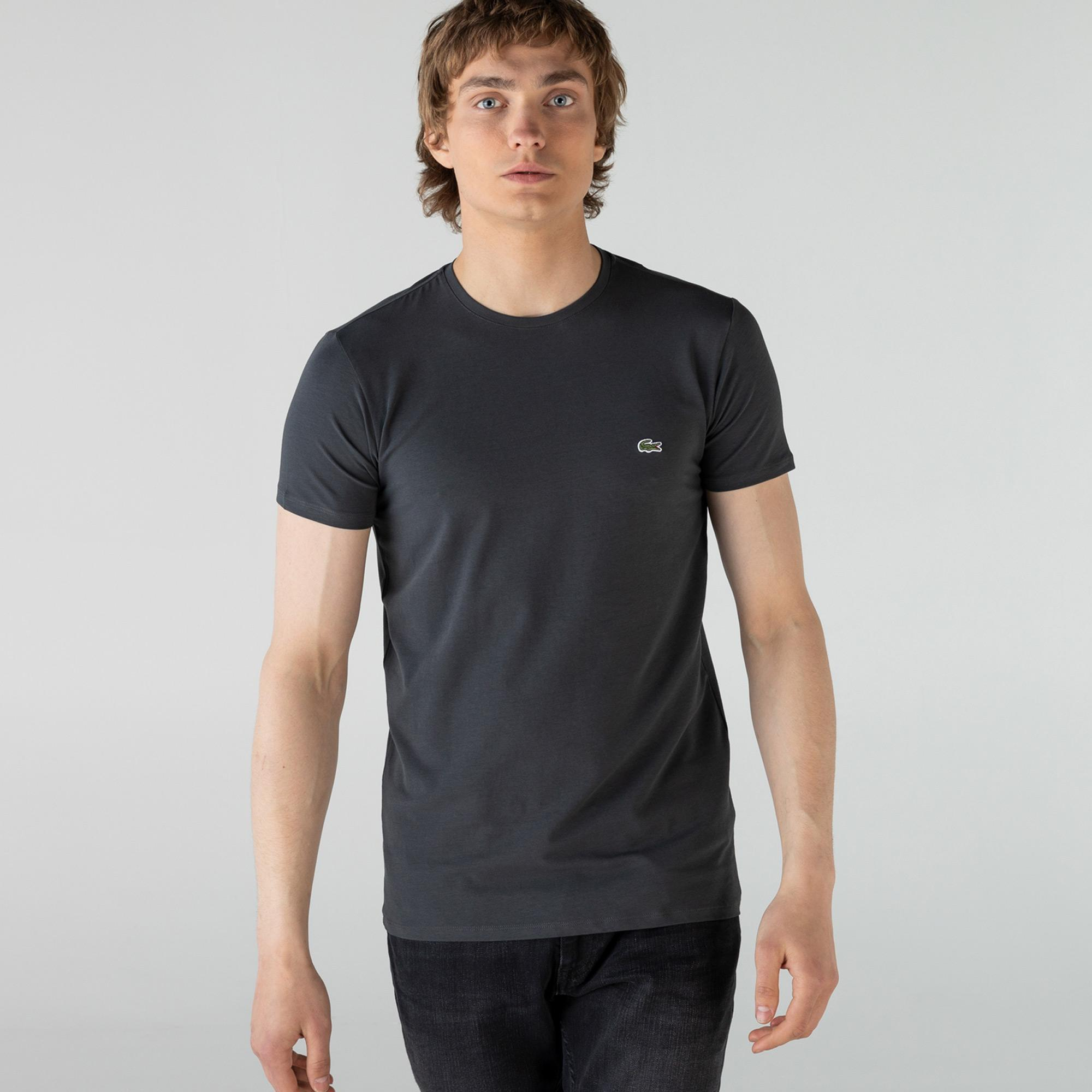 Lacoste Erkek Bisiklet Yaka Koyu Gri T-Shirt