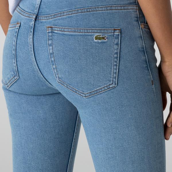 Lacoste Kadın Skinny Fit Mavi Denim Pantolon