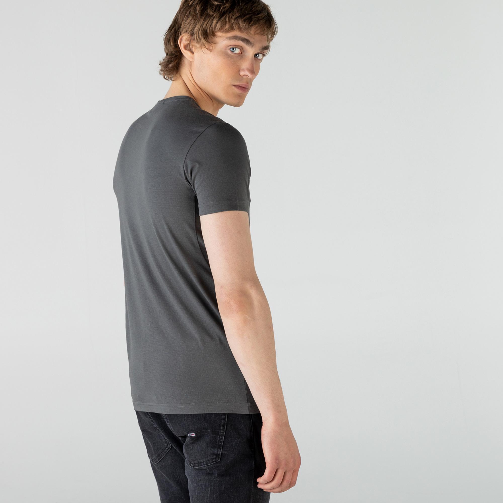 Lacoste Erkek Slim Fit Gri T-Shirt