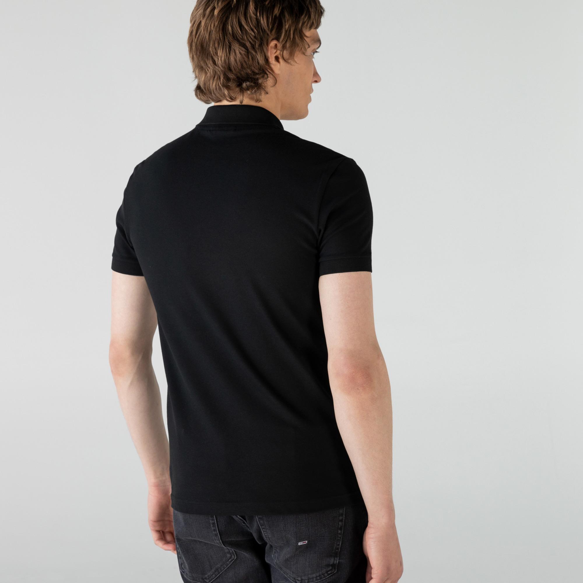 Lacoste Erkek Slim Fit Fermuar Yaka Renk Bloklu Siyah Polo