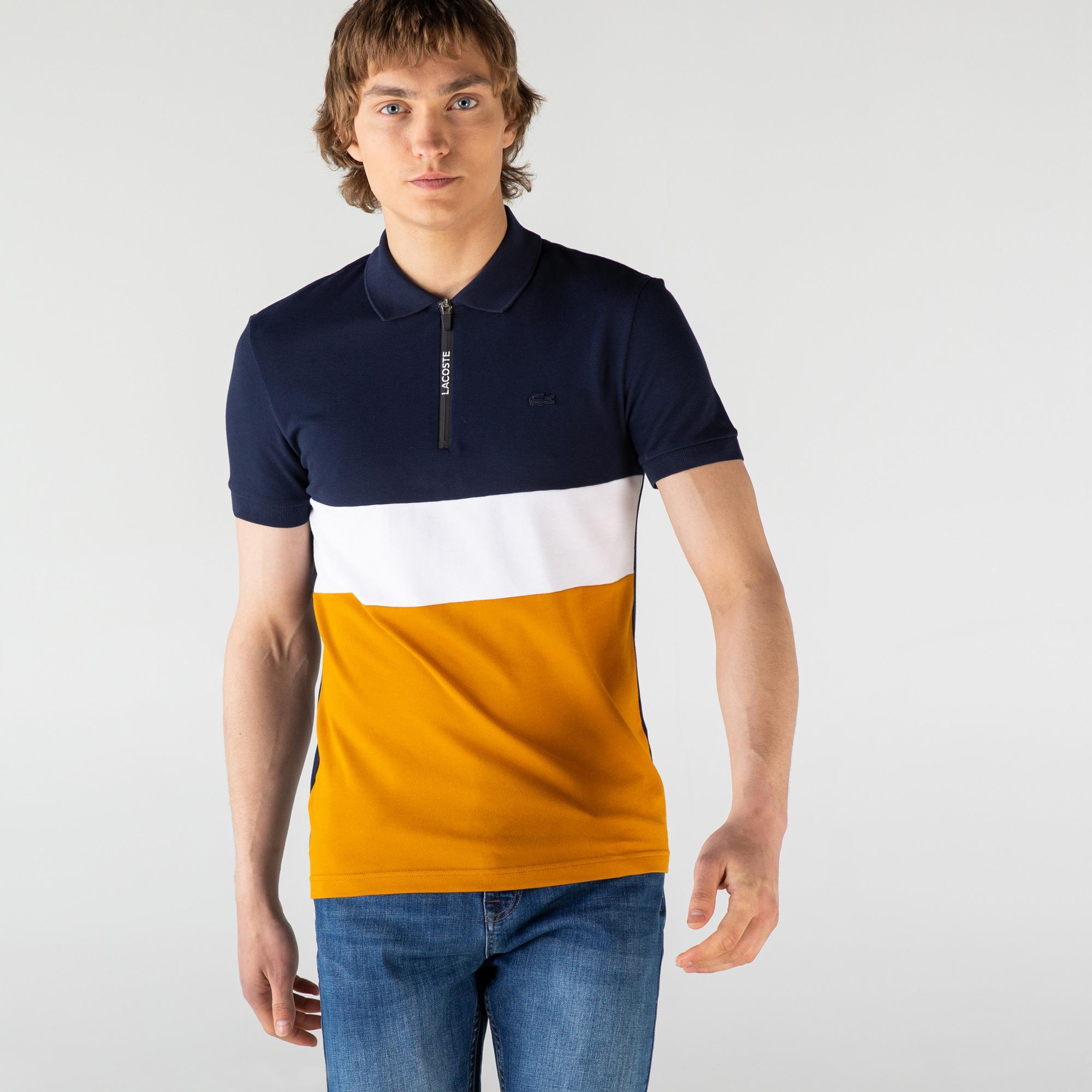 Lacoste Erkek Slim Fit Fermuar Yaka Renk Bloklu Renkli Polo