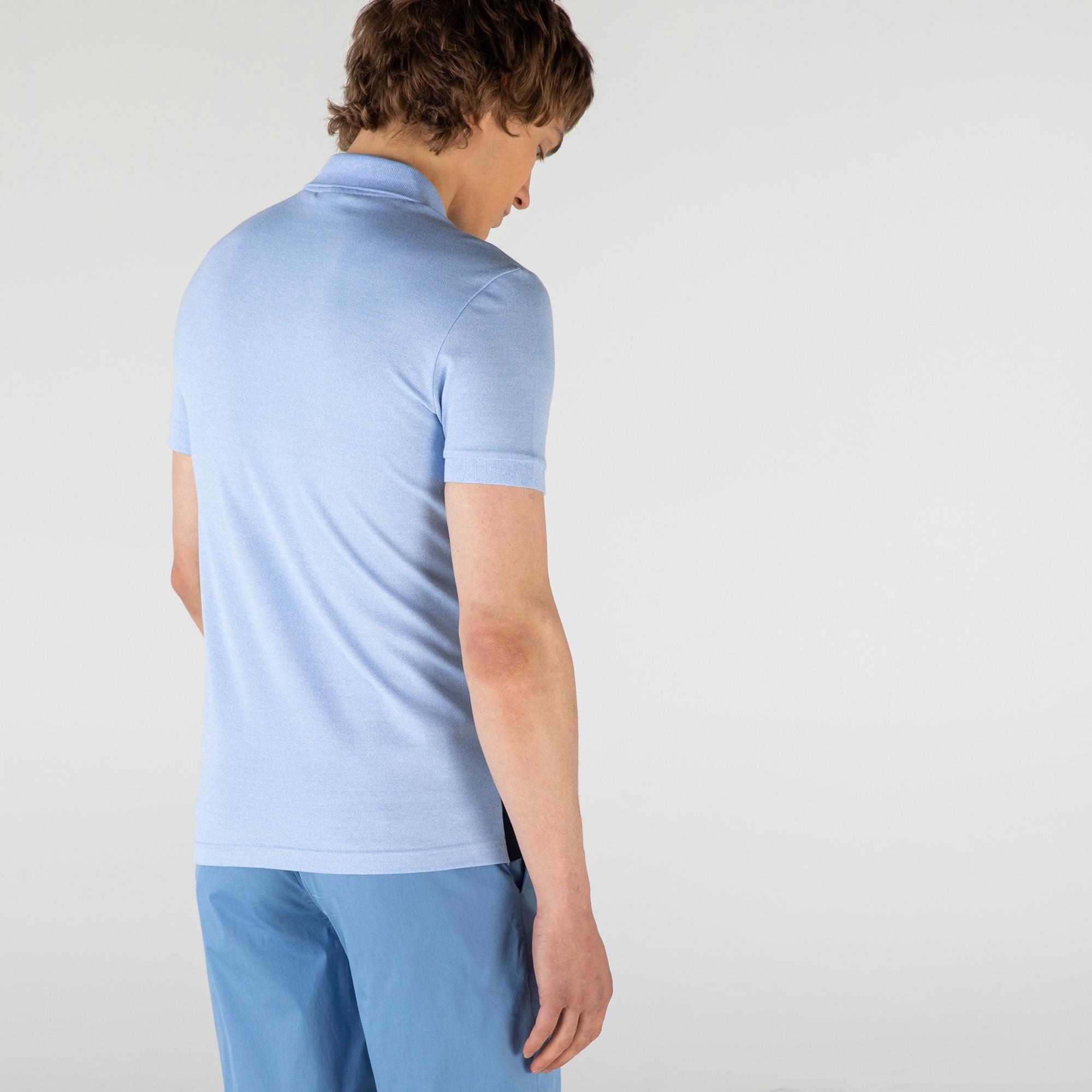Lacoste Erkek Slim Fit Fermuar Yaka Renk Bloklu Mavi Polo