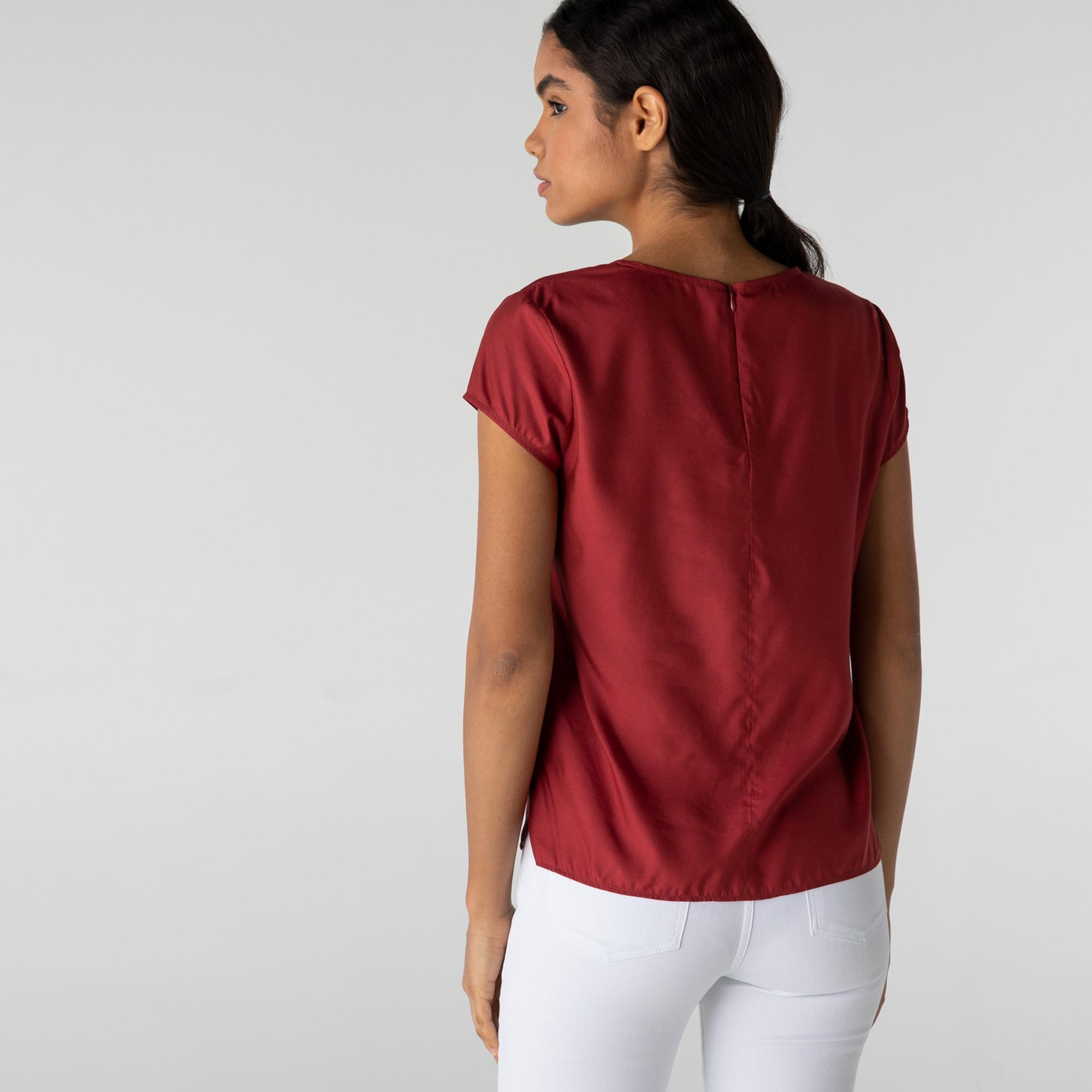 Lacoste Kadın Kısa Kollu V Yaka Bordo Bluz
