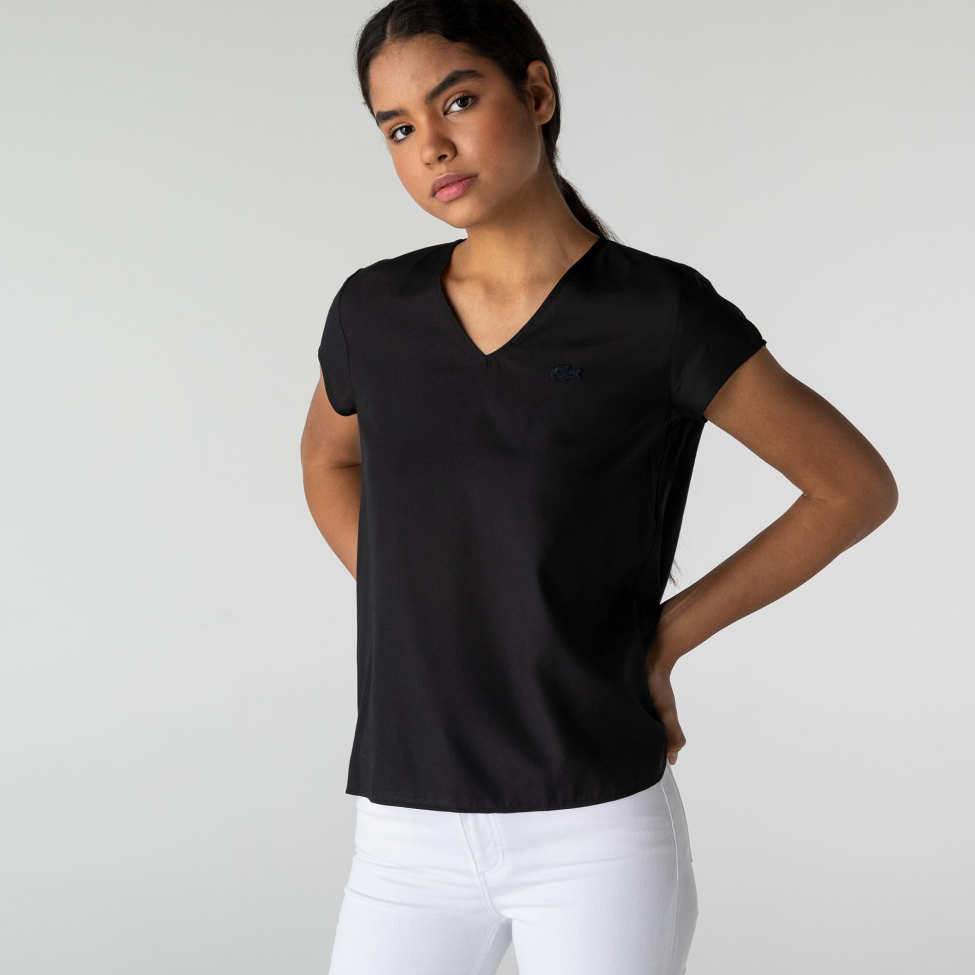 Lacoste Kadın Kısa Kollu V Yaka Siyah Bluz