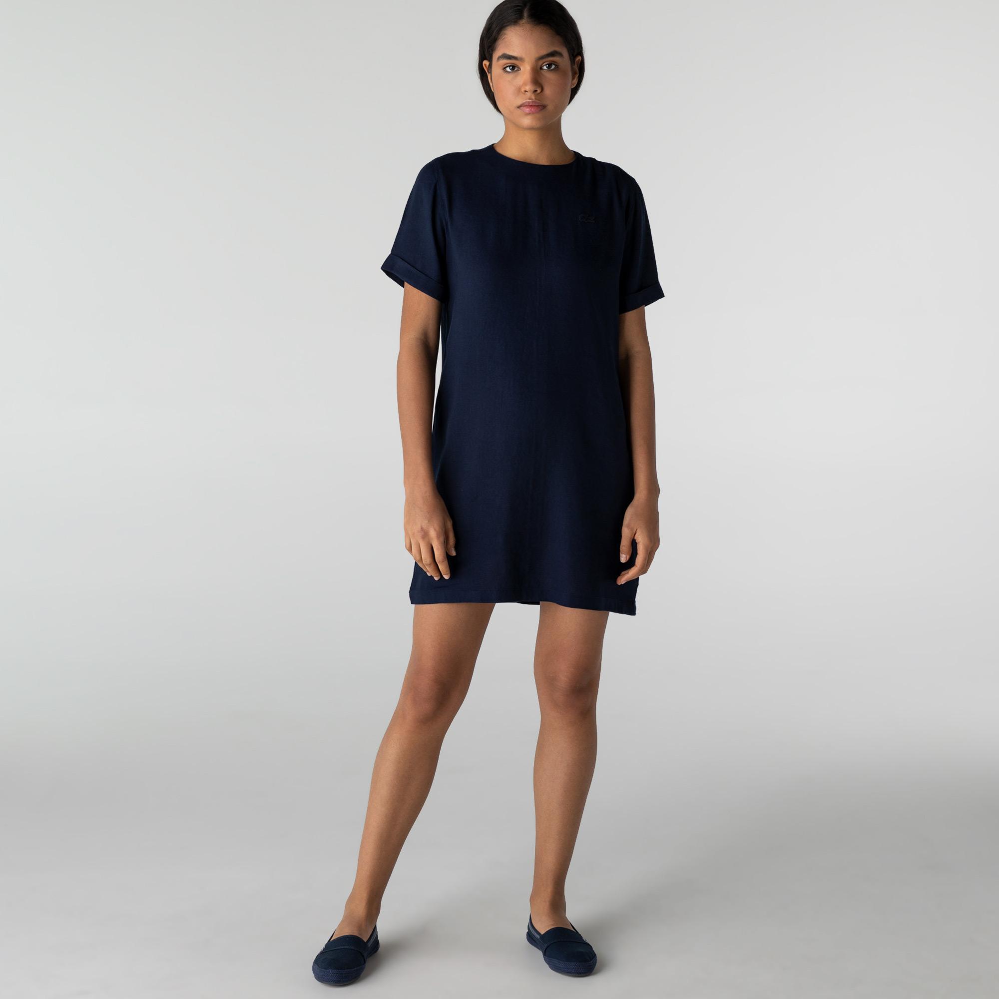 Lacoste Kadın Kısa Kollu Bisiklet Yaka Lacivert Elbise