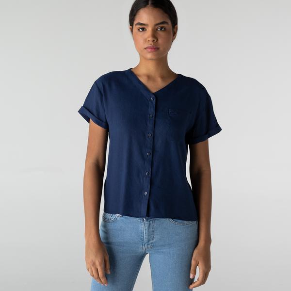 Lacoste Kadın V Yaka Lacivert Gömlek