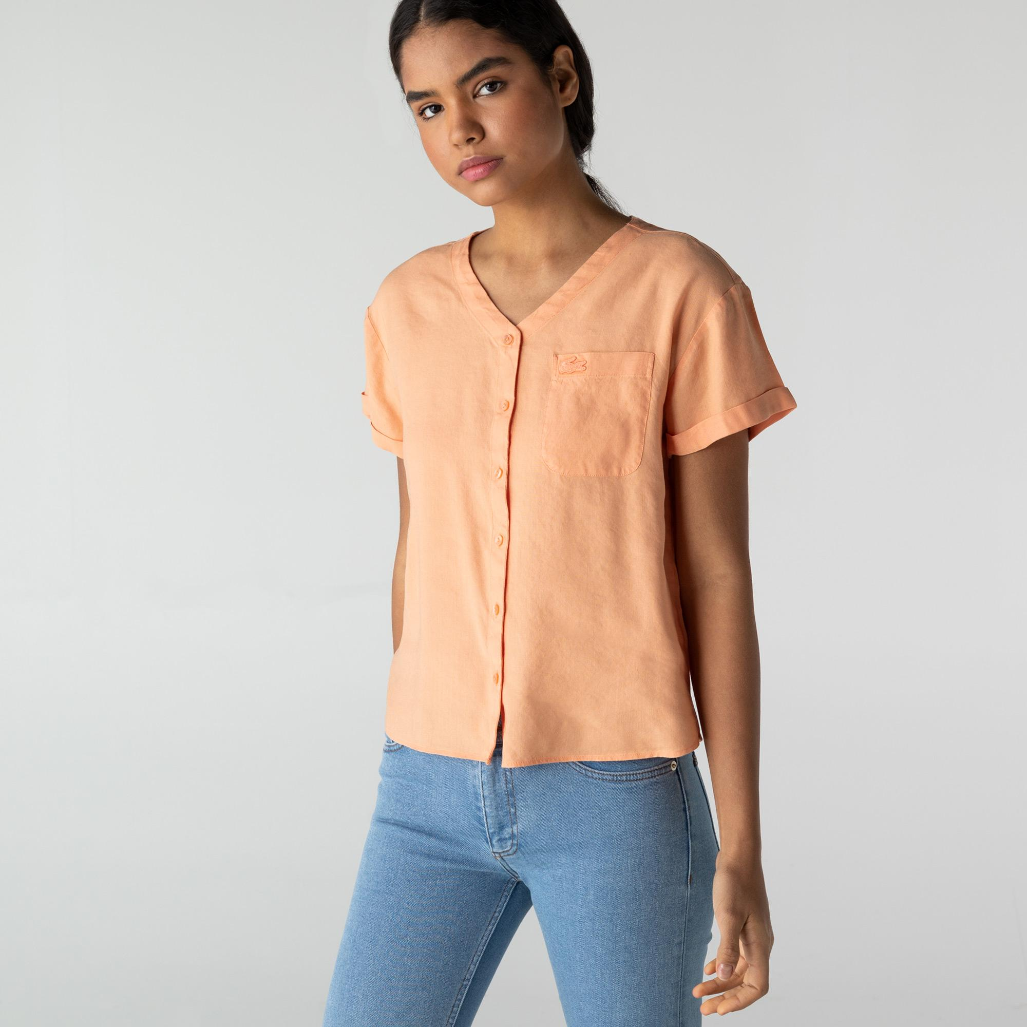 Lacoste Kadın V Yaka Pembe Gömlek