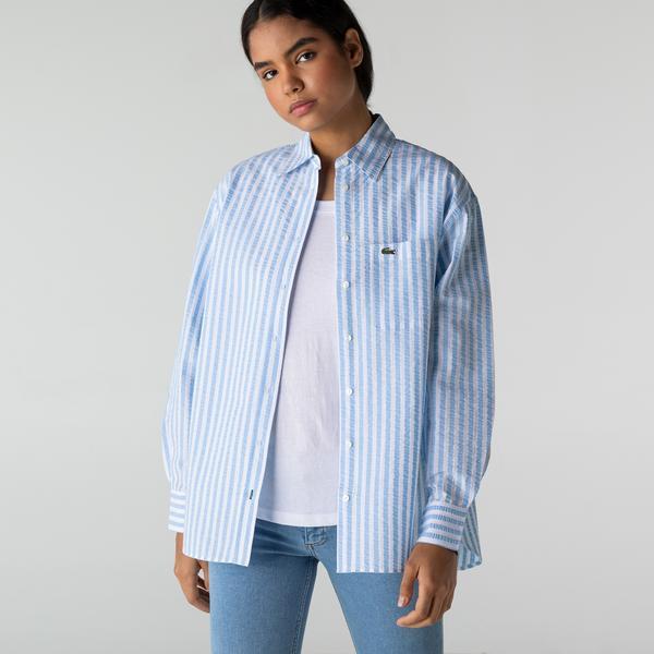 Lacoste Kadın Çizgili Mavi Gömlek