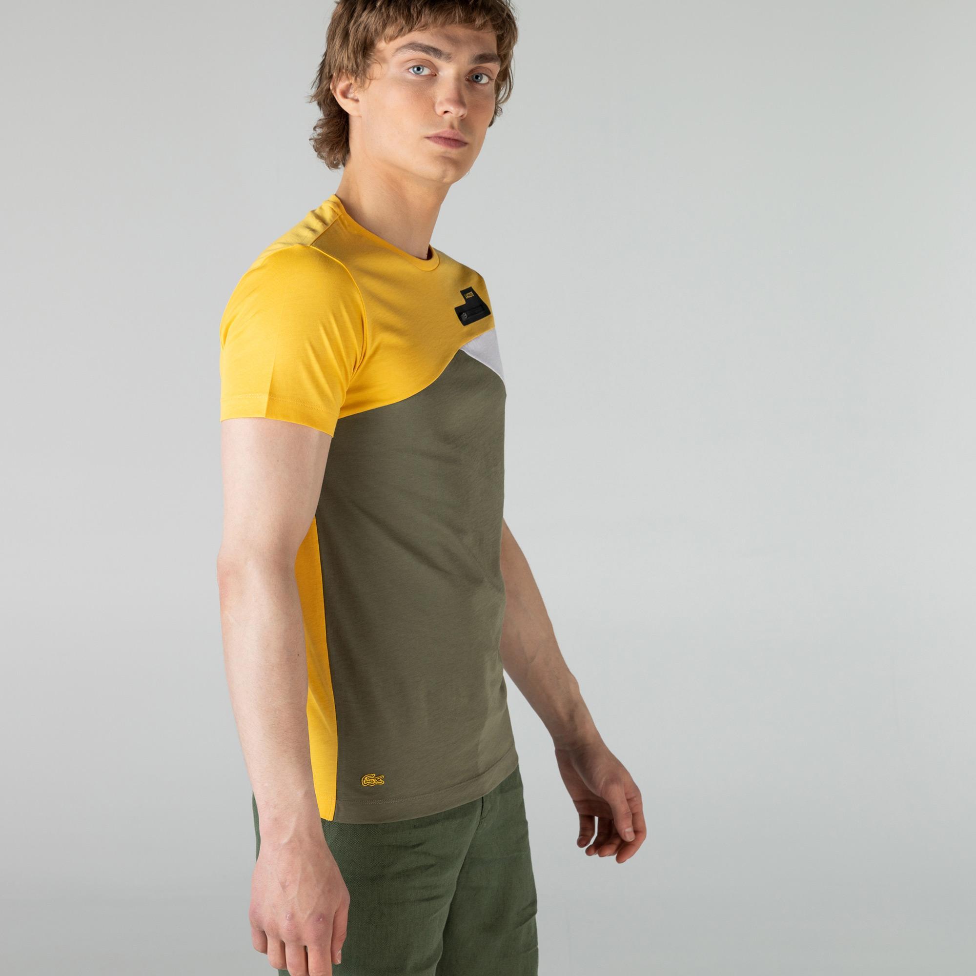Lacoste Erkek Slim Fit Bisiklet Yaka Renk Bloklu Renkli T-Shirt