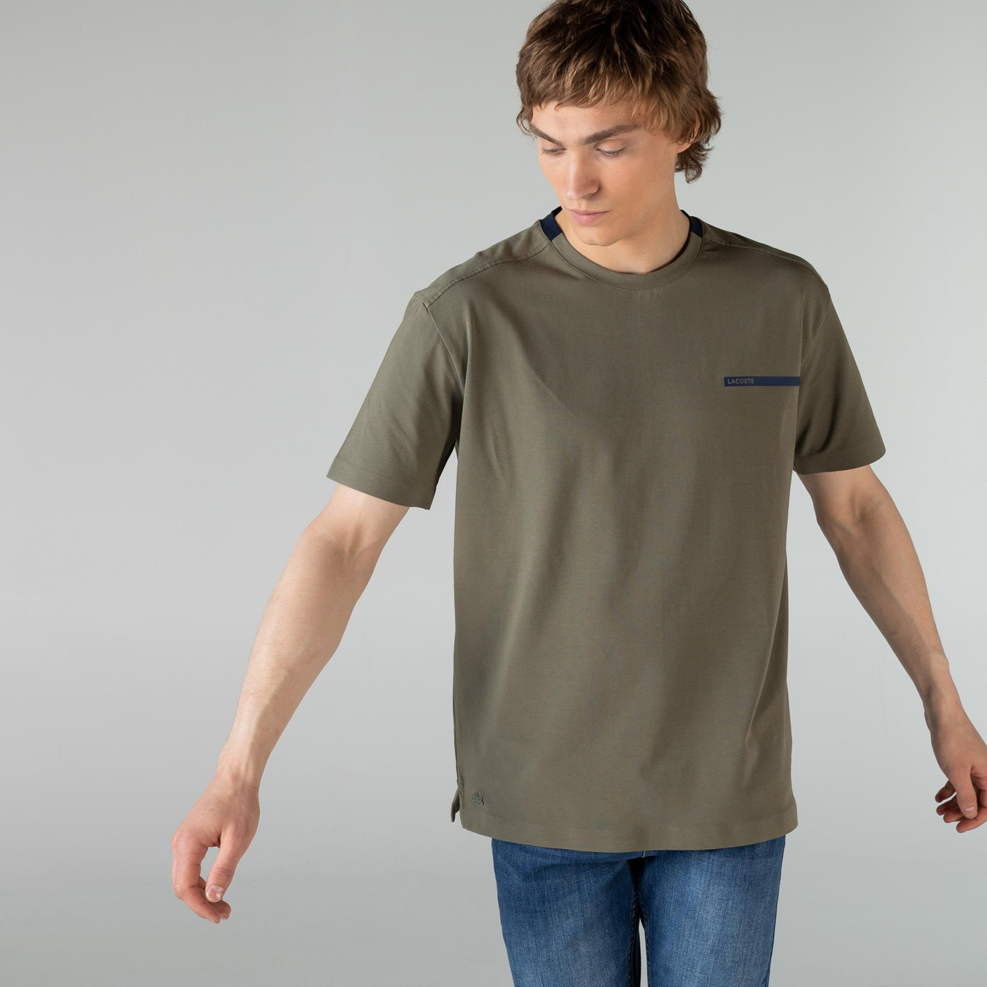 Lacoste Erkek Rahat Fit Bisiklet Yaka Haki T-Shirt
