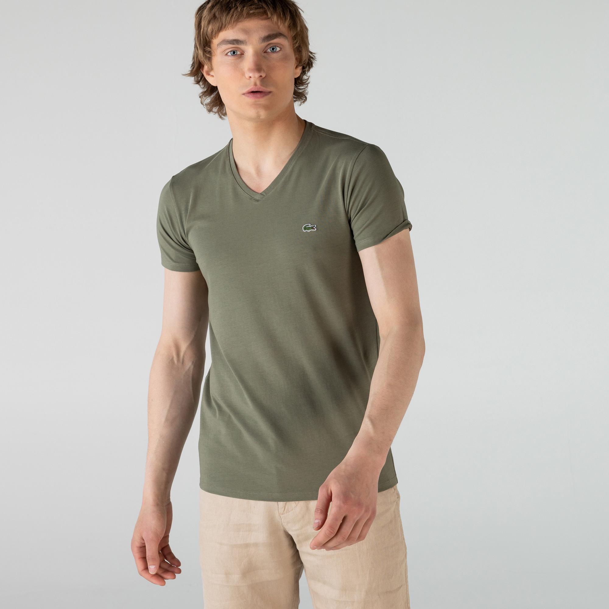 Lacoste Erkek Slim Fit V Yaka Haki T-Shirt
