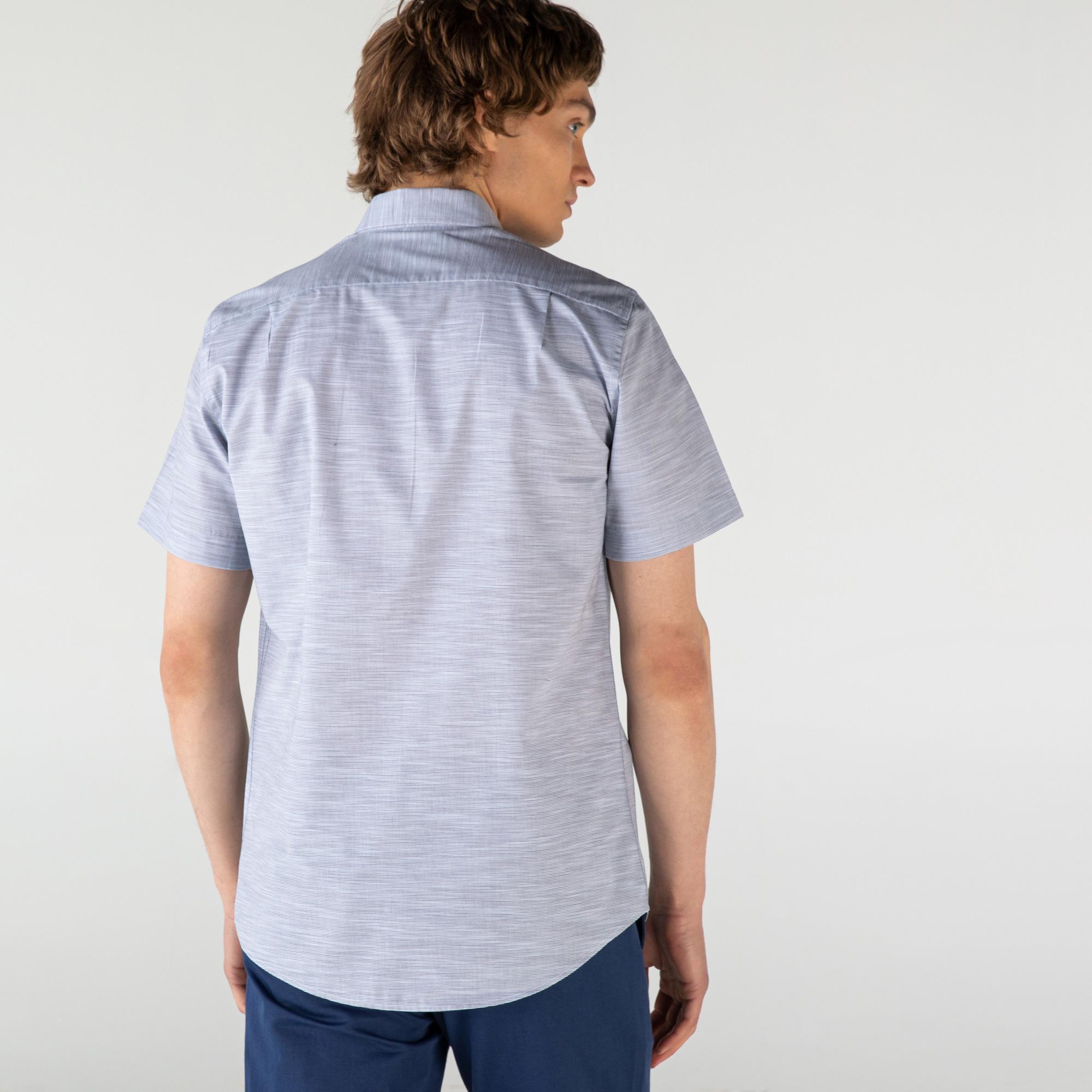 Lacoste Erkek Slim Fit Kısa Kollu Desenli Gri Gömlek