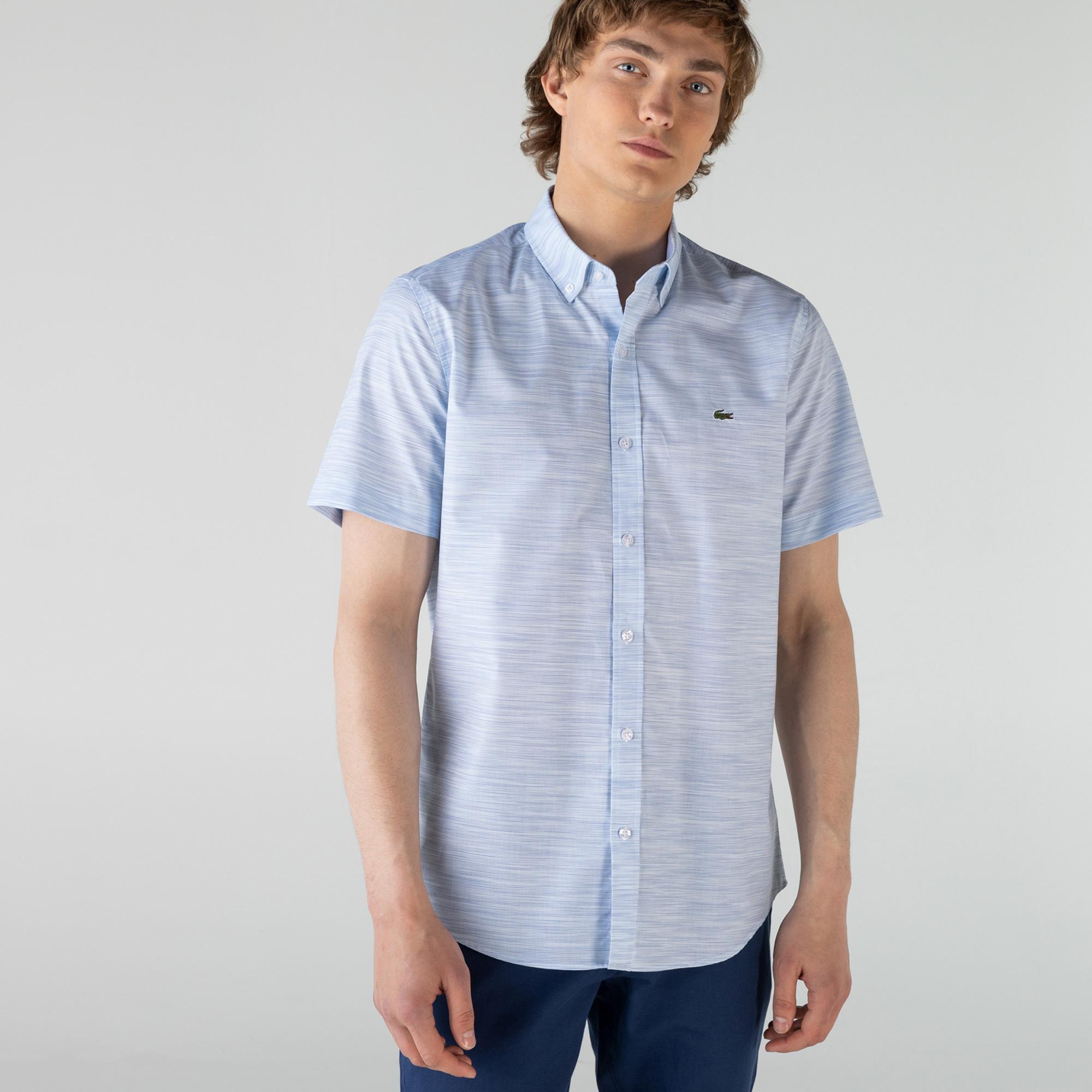 Lacoste Erkek Slim Fit Kısa Kollu Desenli Açık Mavi Gömlek