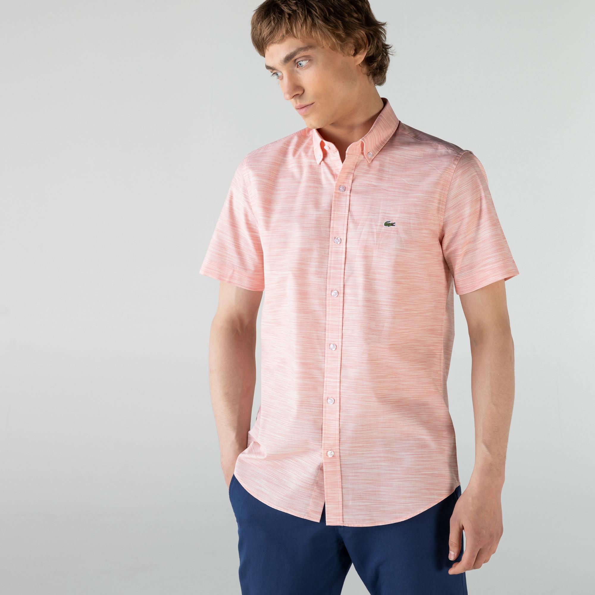 Lacoste Erkek Slim Fit Kısa Kollu Desenli Açık Pembe Gömlek