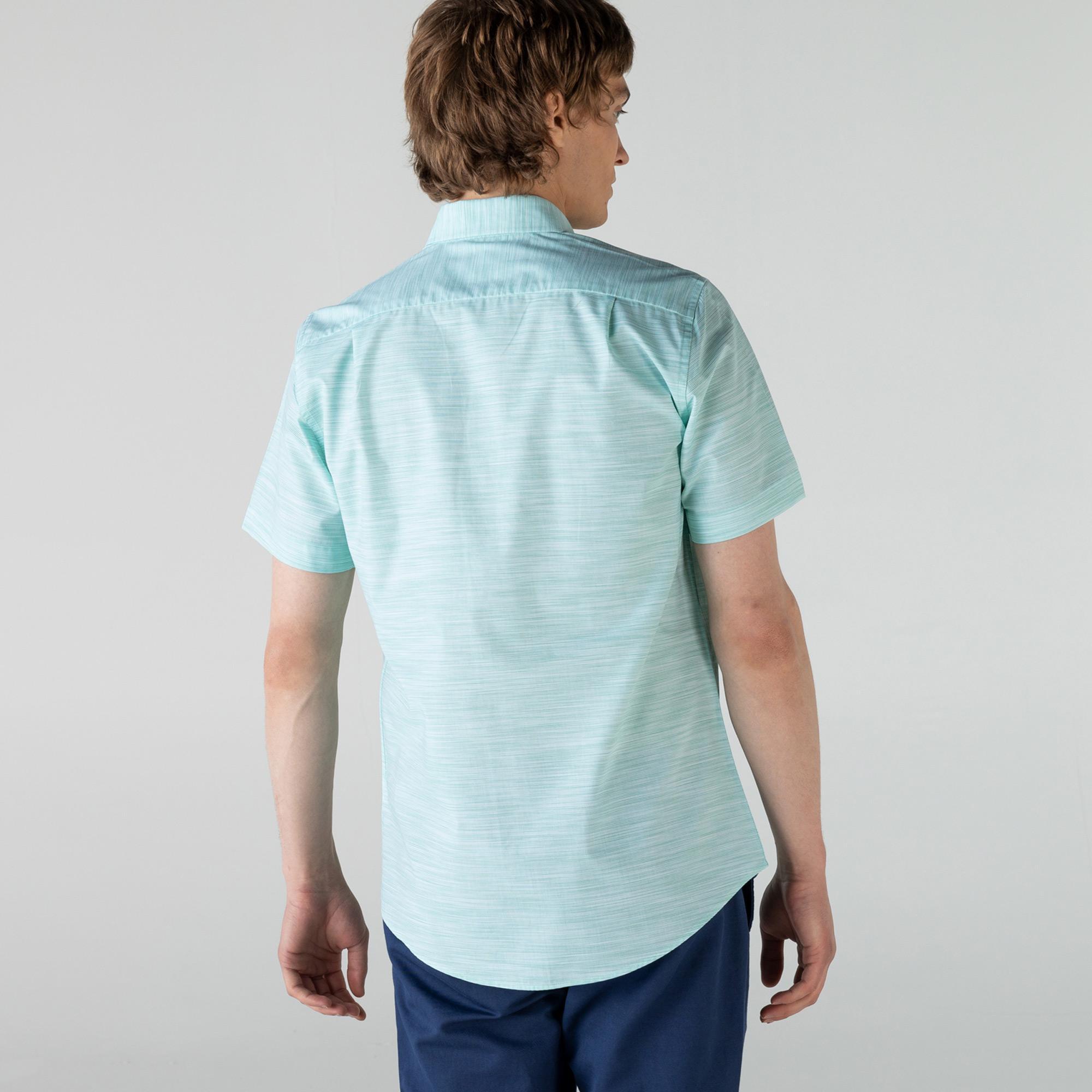 Lacoste Erkek Slim Fit Kısa Kollu Desenli Açık Yeşil Gömlek