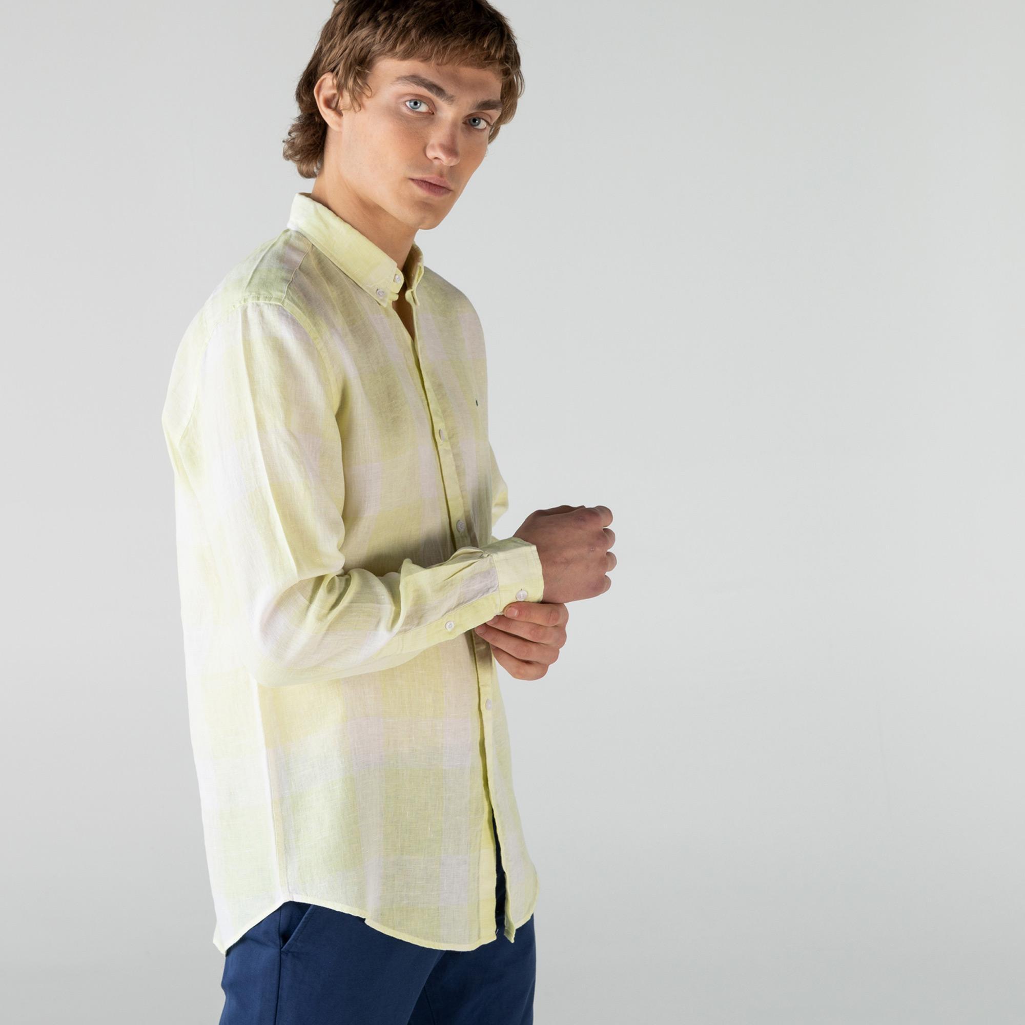 Lacoste Erkek Regular Fit Keten Ekose Desenli Sarı Gömlek