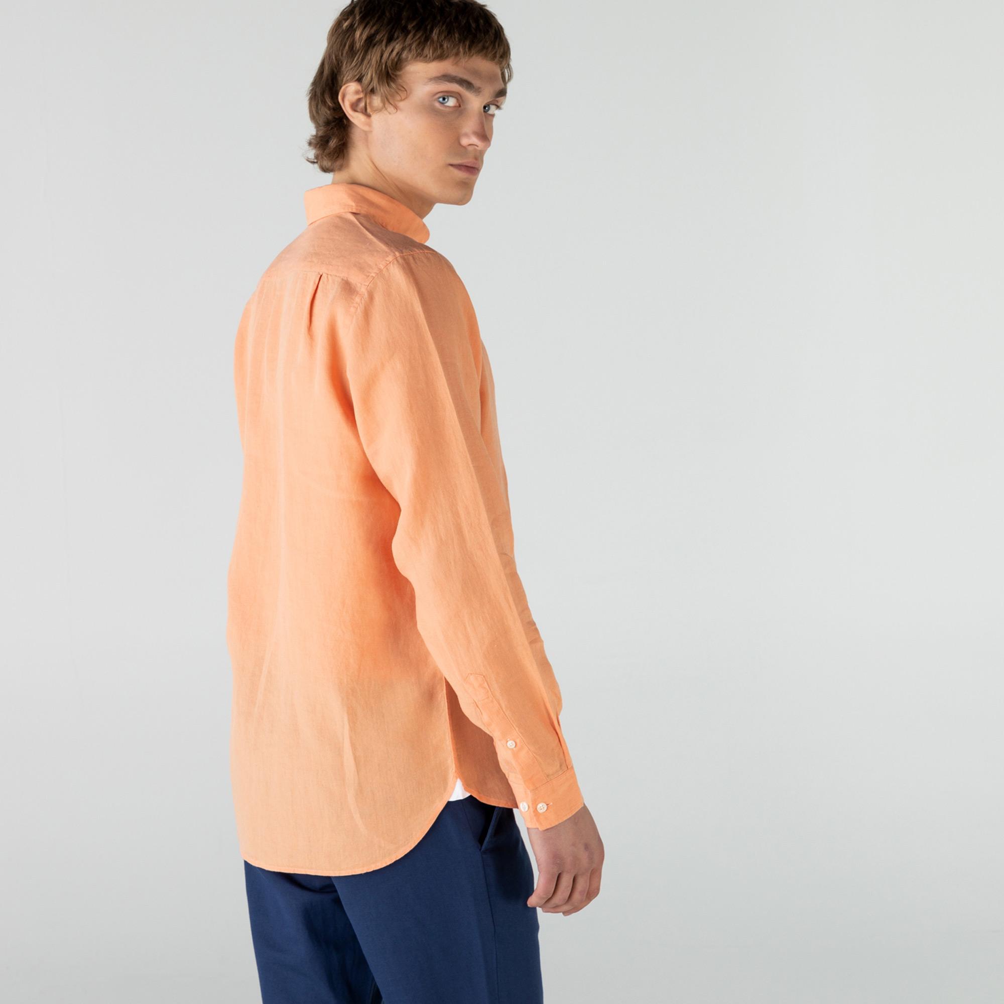 Lacoste Erkek Regular Fit Keten Pembe Gömlek
