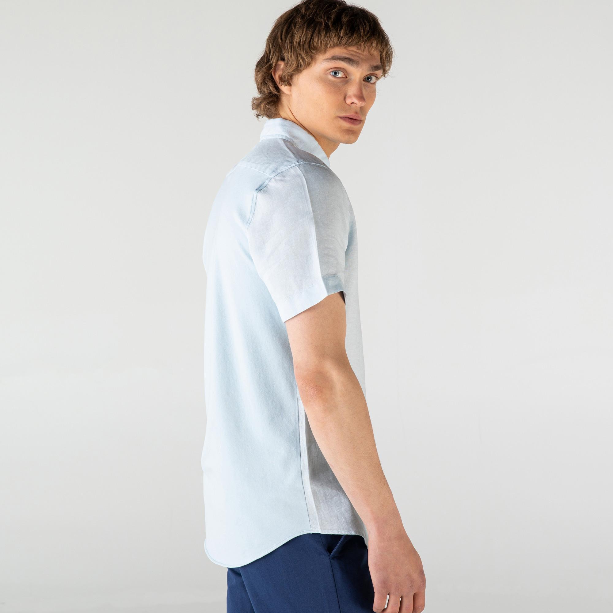 Lacoste Erkek Slim Fit Keten Mavi Kısa Kollu Gömlek