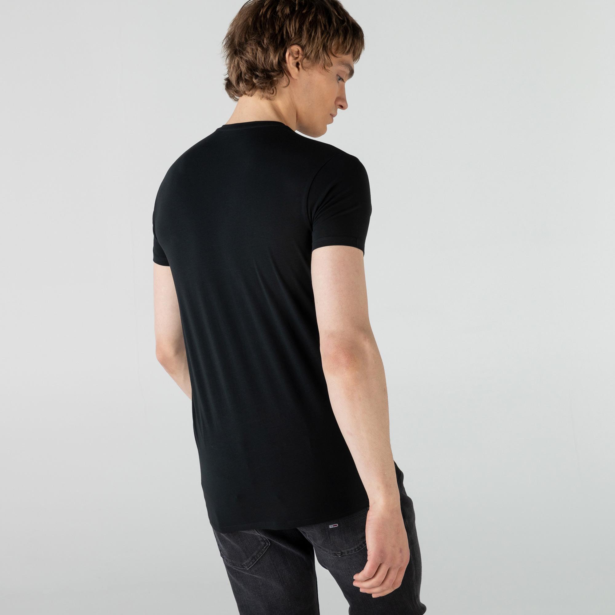 Lacoste Erkek Regular Fit V Yaka Siyah T-Shirt