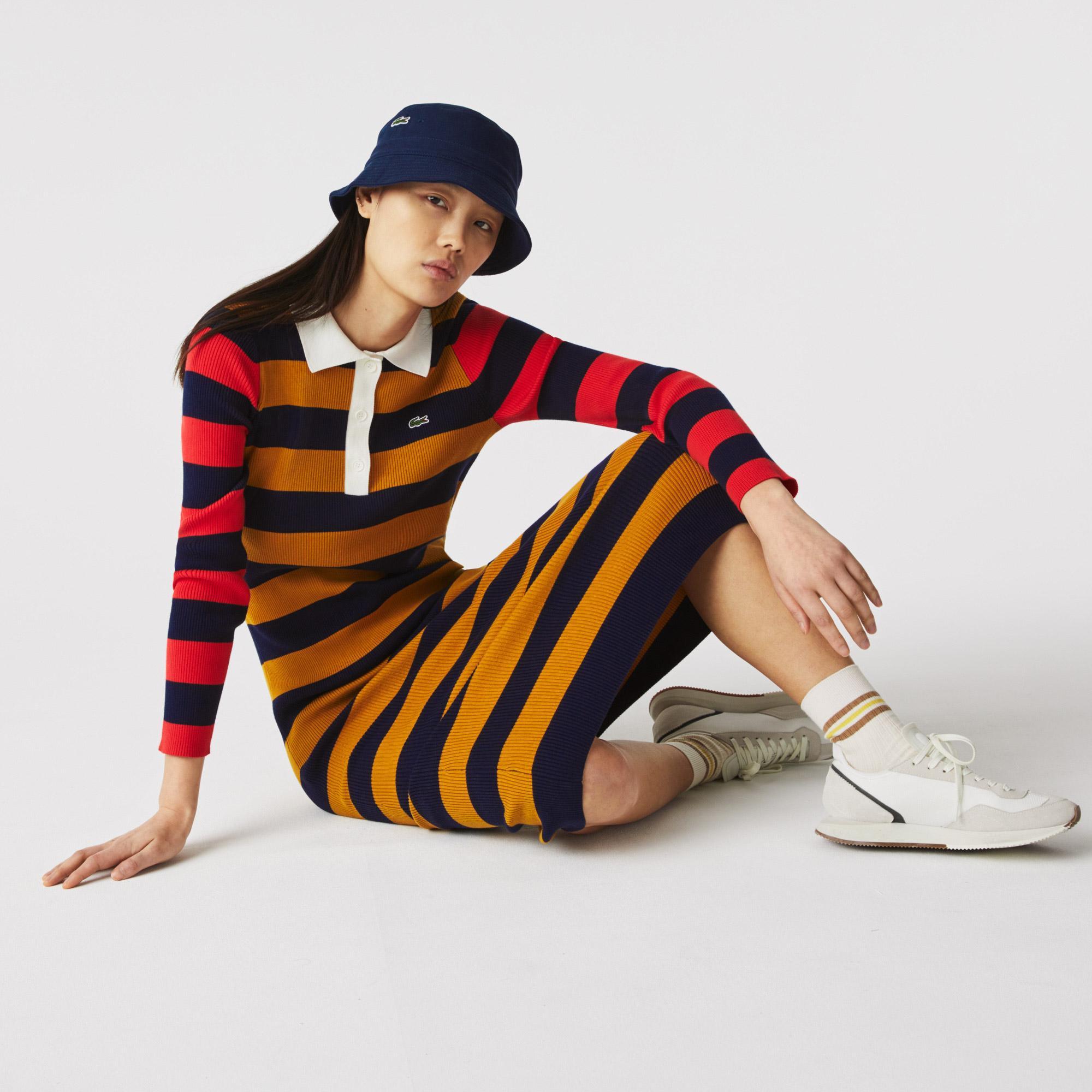 Lacoste Kadın Uzun Kollu Polo Yaka Çizgili Renkli Elbise