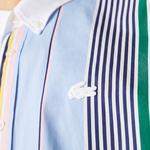 Lacoste L!ve Erkek Rahat Fit Çizgili Renkli Gömlek