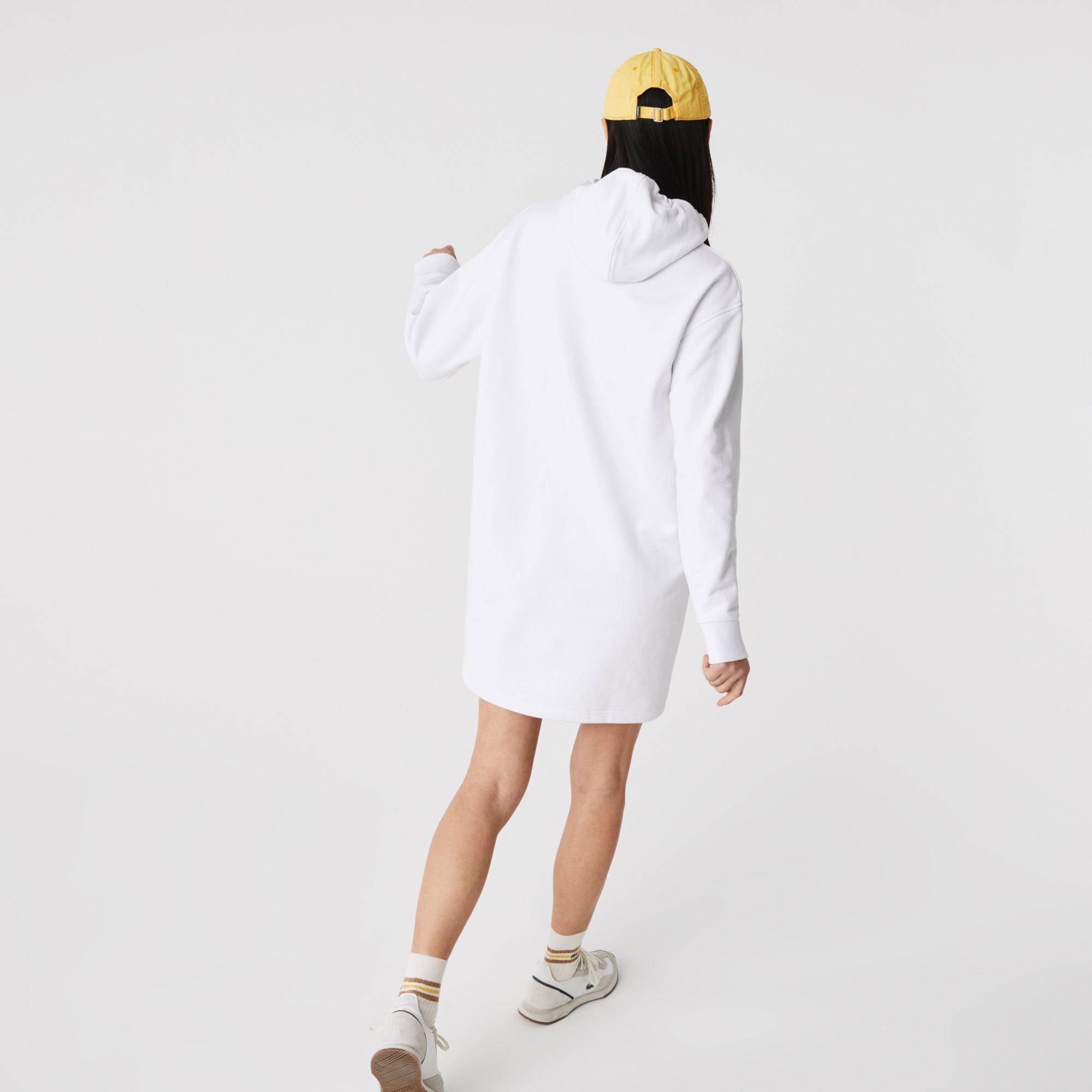 Lacoste Kadın Uzun Kollu Kapüşonlu Baskılı Beyaz Elbise