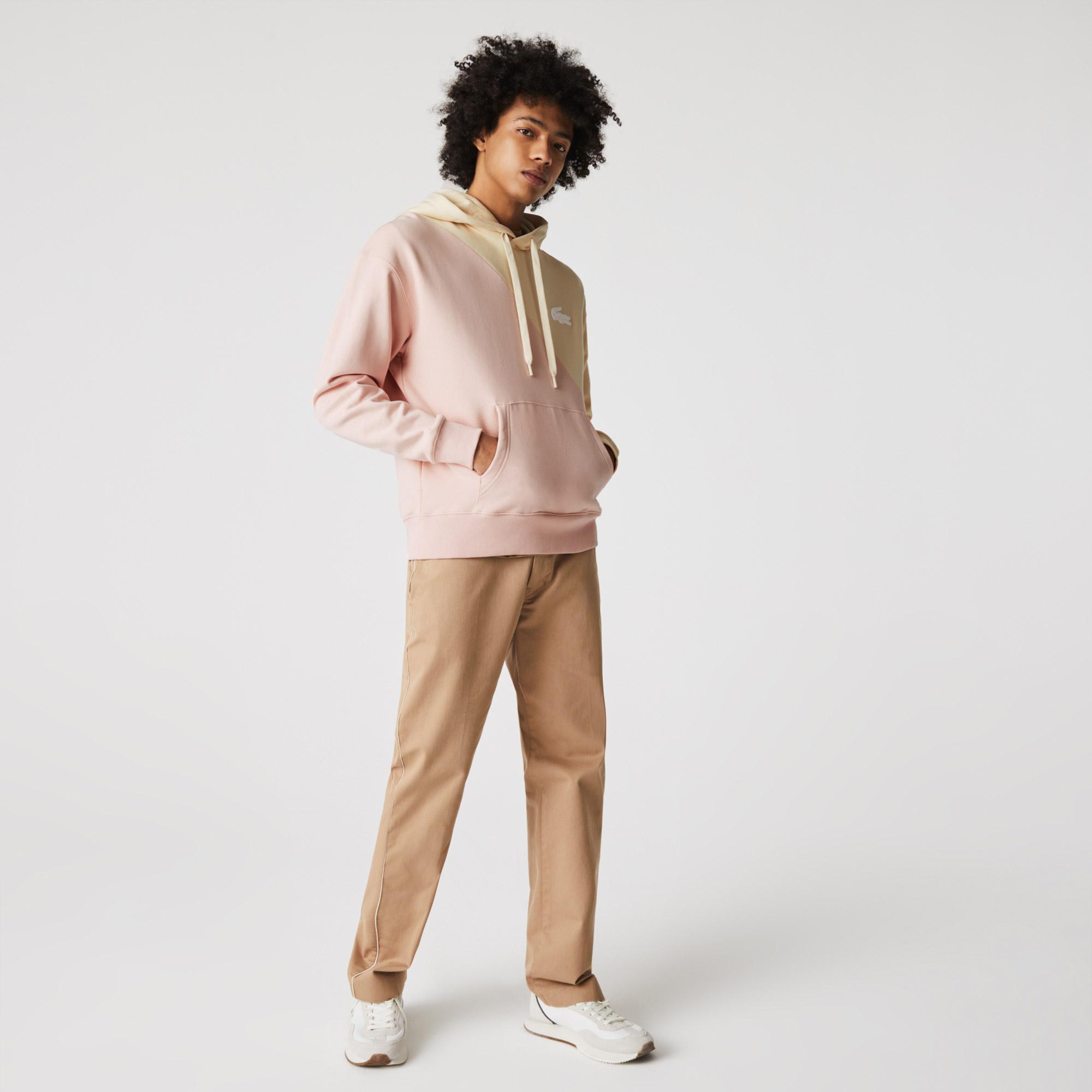Lacoste L!ve Unisex Loose Fit Kapüşonlu Renk Bloklu Bej - Pembe Sweatshirt
