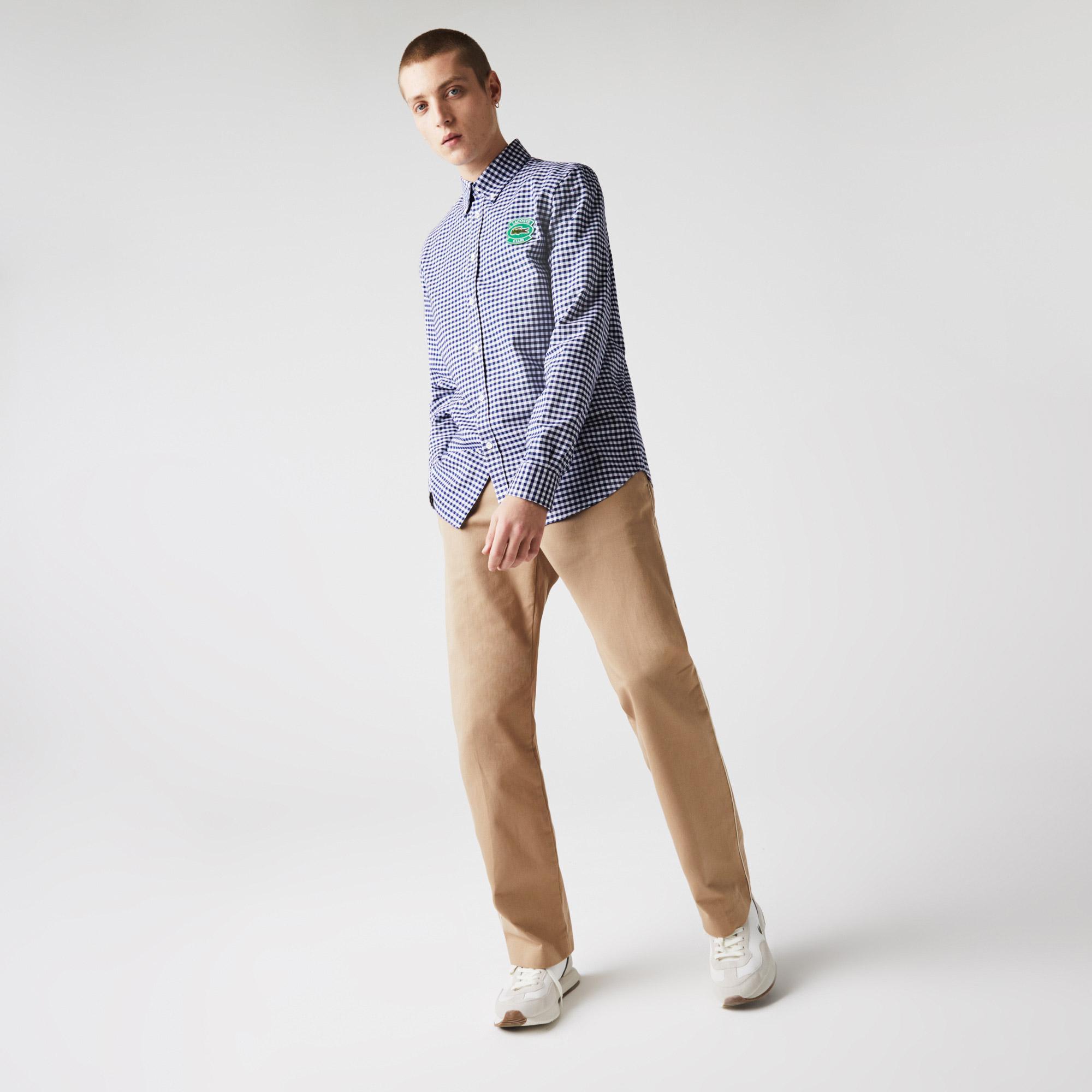 Lacoste Erkek Regular Fit Ekose Desenli Saks Mavi - Beyaz Gömlek
