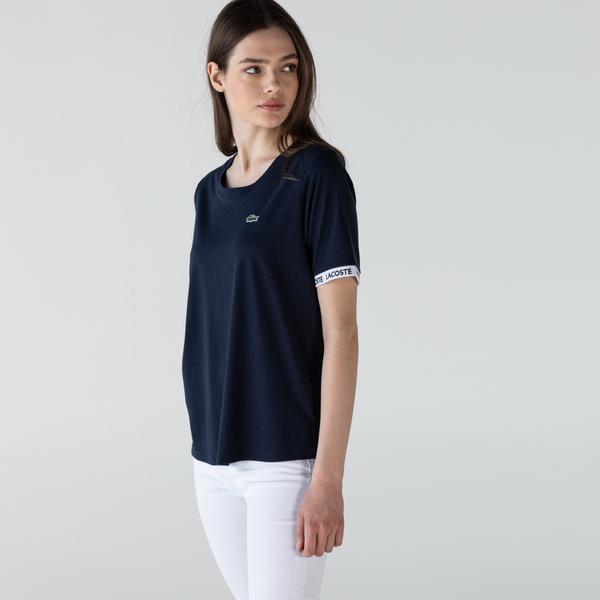 Lacoste Kadın Slim Fit Baskılı Bisiklet Yaka Lacivert T-Shirt