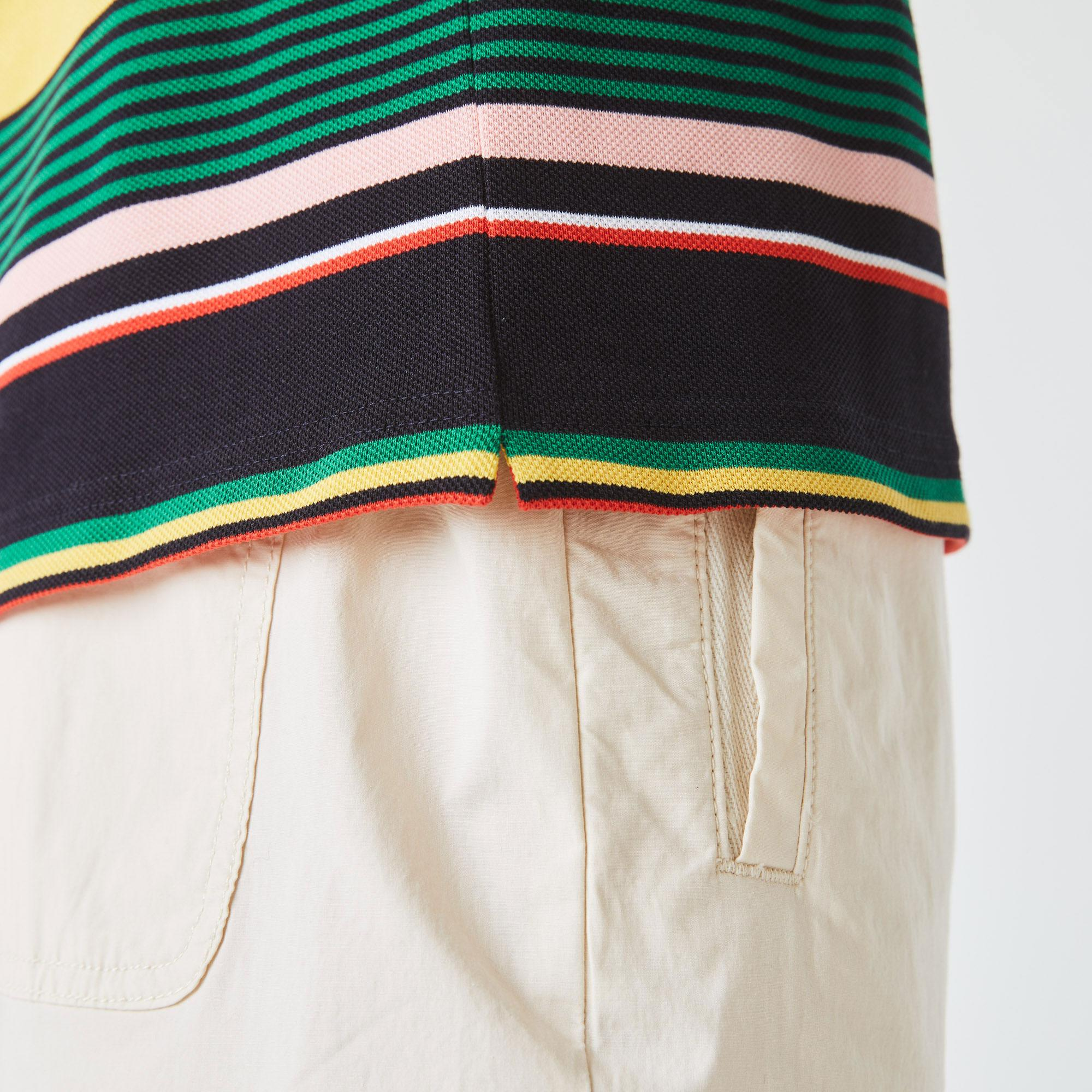 Lacoste L!ve Unisex Çizgili Renkli Polo