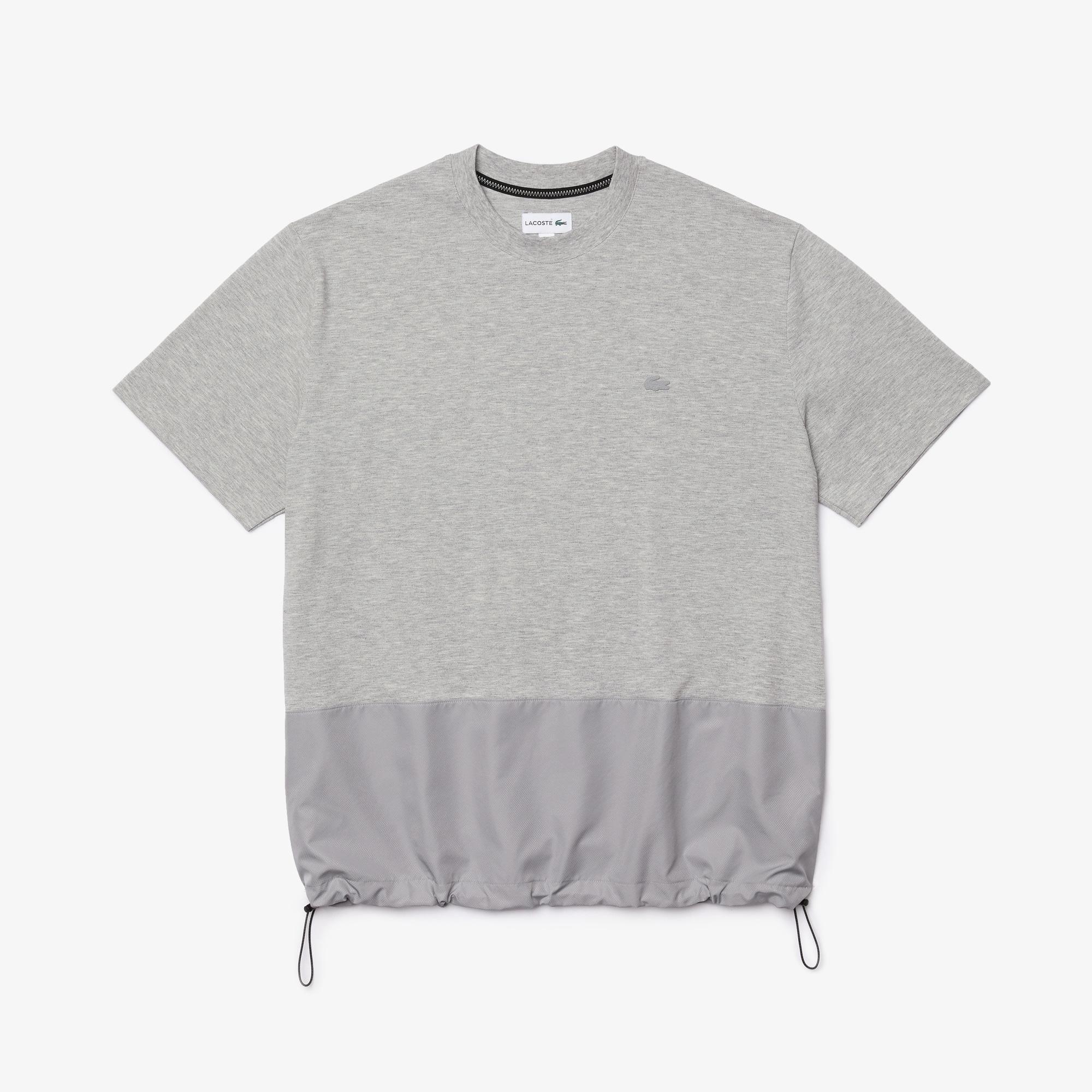 Lacoste Erkek Rahat Fit Bisiklet Yaka Renk Bloklu Gri T-Shirt