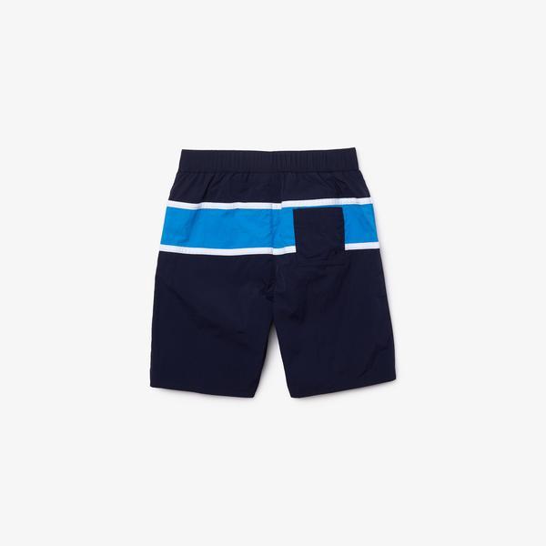 Lacoste Çocuk Renk Bloklu Mavi Şort Mayo