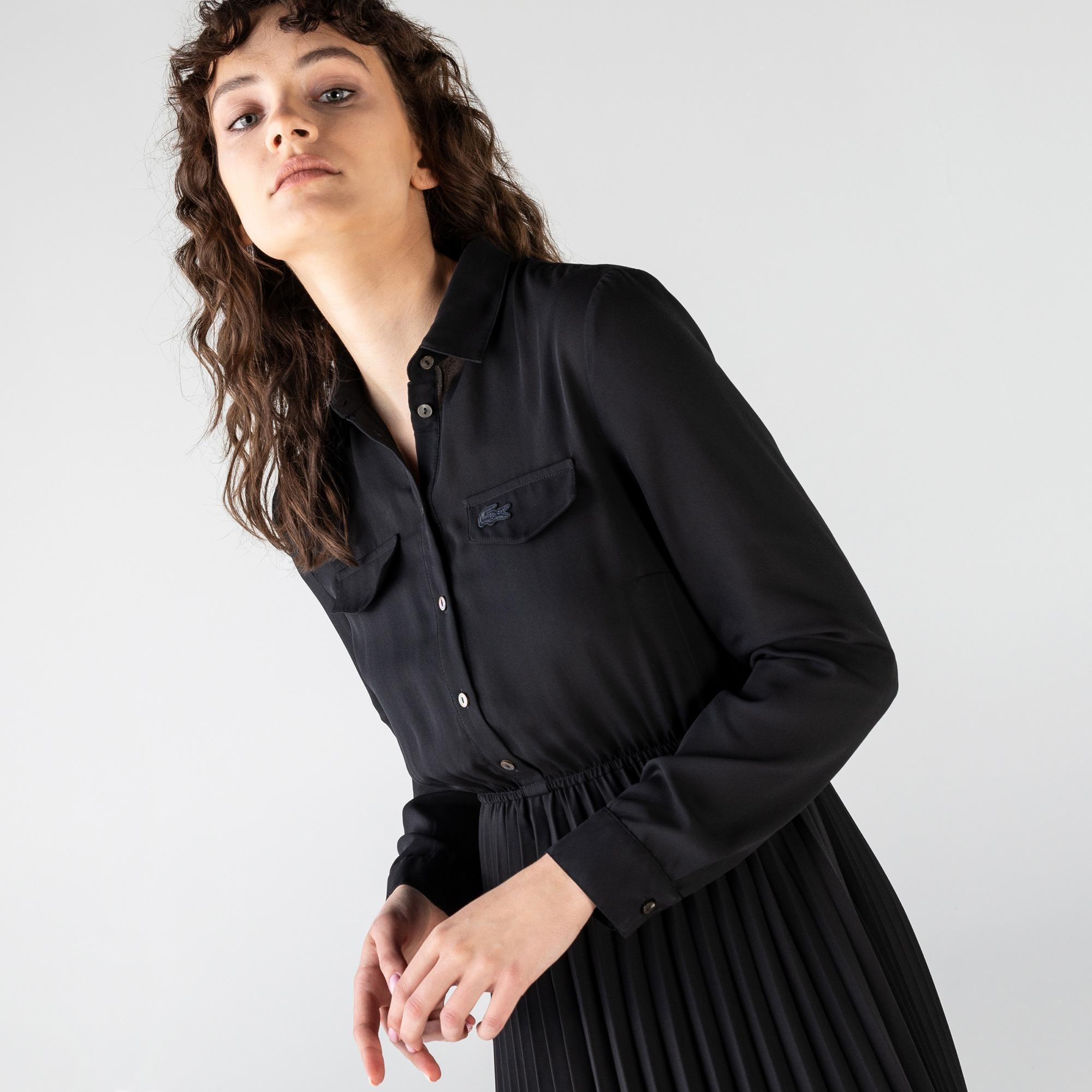 Lacoste Kadın Uzun Kollu Gömlek Yaka Siyah Elbise