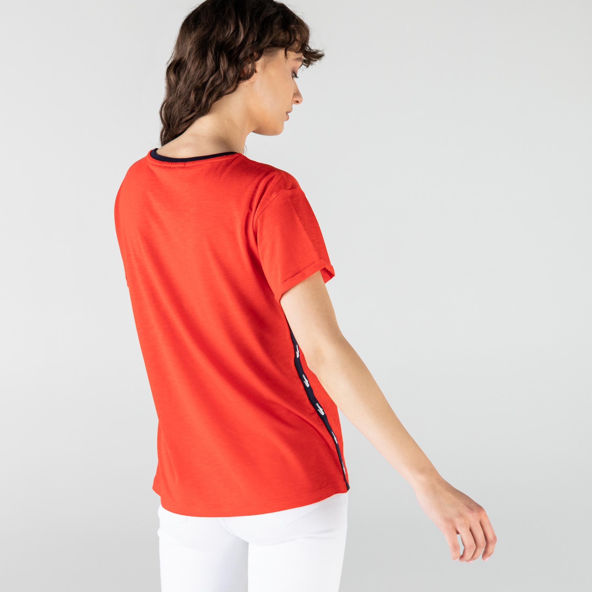 Lacoste Kadın Regular Fit Bisiklet Yaka Kırmızı T-Shirt