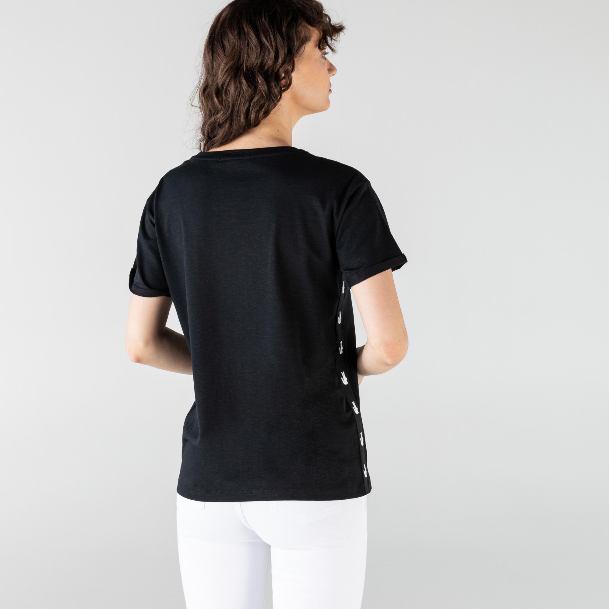 Lacoste Kadın Regular Fit Bisiklet Yaka Siyah T-Shirt