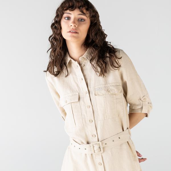 Lacoste Kadın Regular Fit Keten Gömlek Yaka Kısa Kollu Bej Elbise