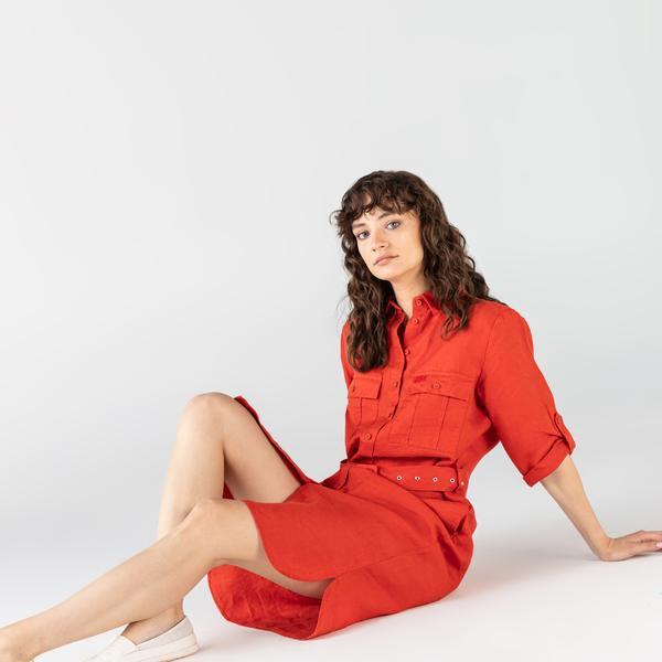Lacoste Kadın Regular Fit Keten Gömlek Yaka Kısa Kollu Kırmızı Elbise