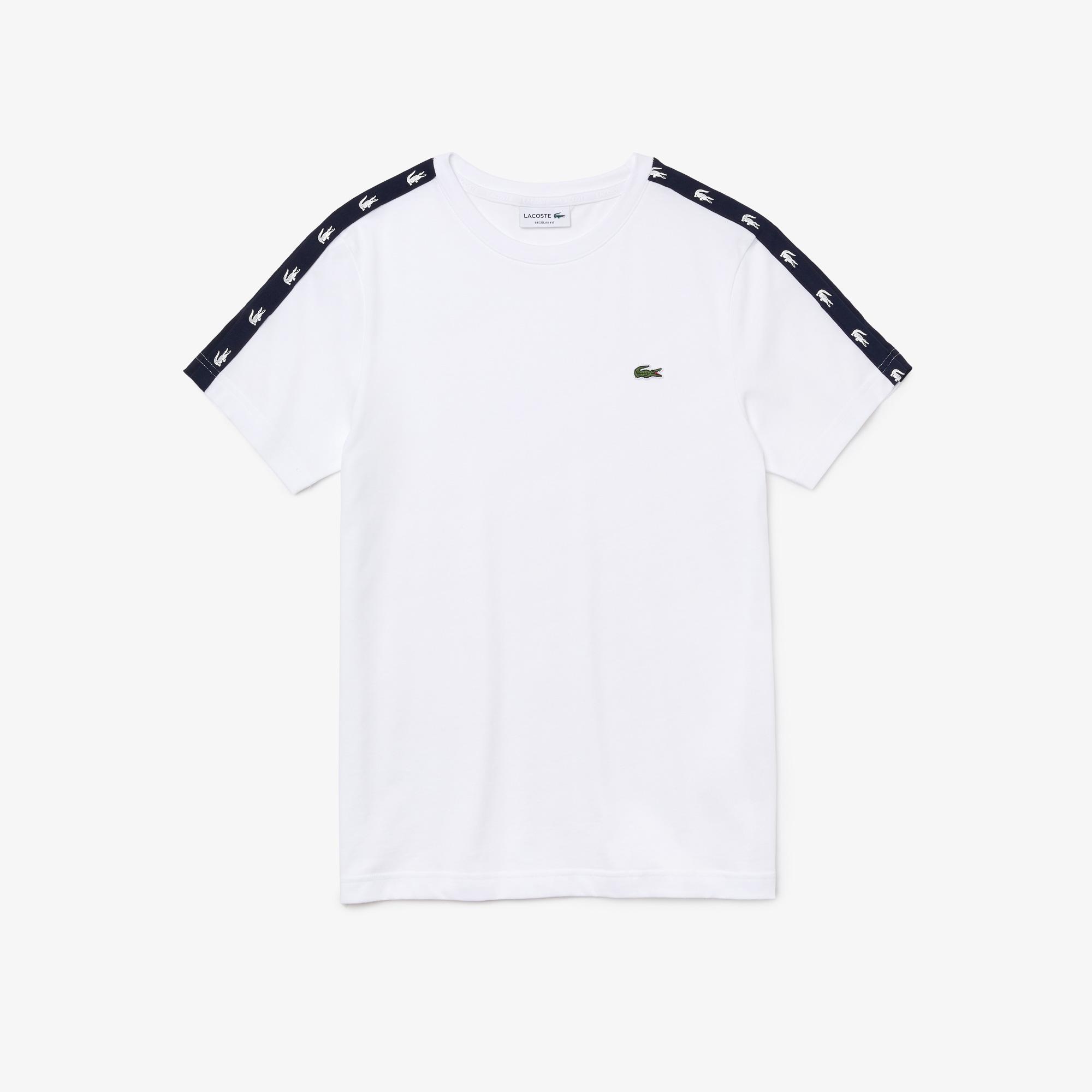 Lacoste Men?s Crew Neck Crocodile Bands Cotton Blend T-shirt