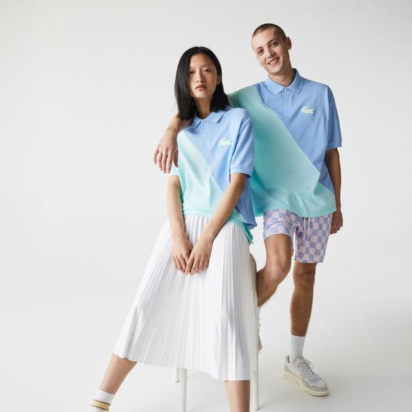 Lacoste L!ve Unisex Loose Fit Renk Bloklu Mavi - Yeşil Polo