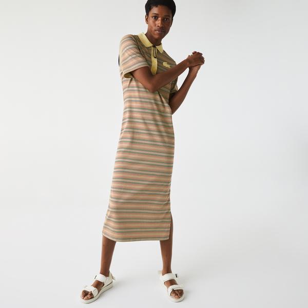 Lacoste L!ve Kadın Regular Fit Kısa Kollu Polo Yaka Çizgili Renkli Elbise