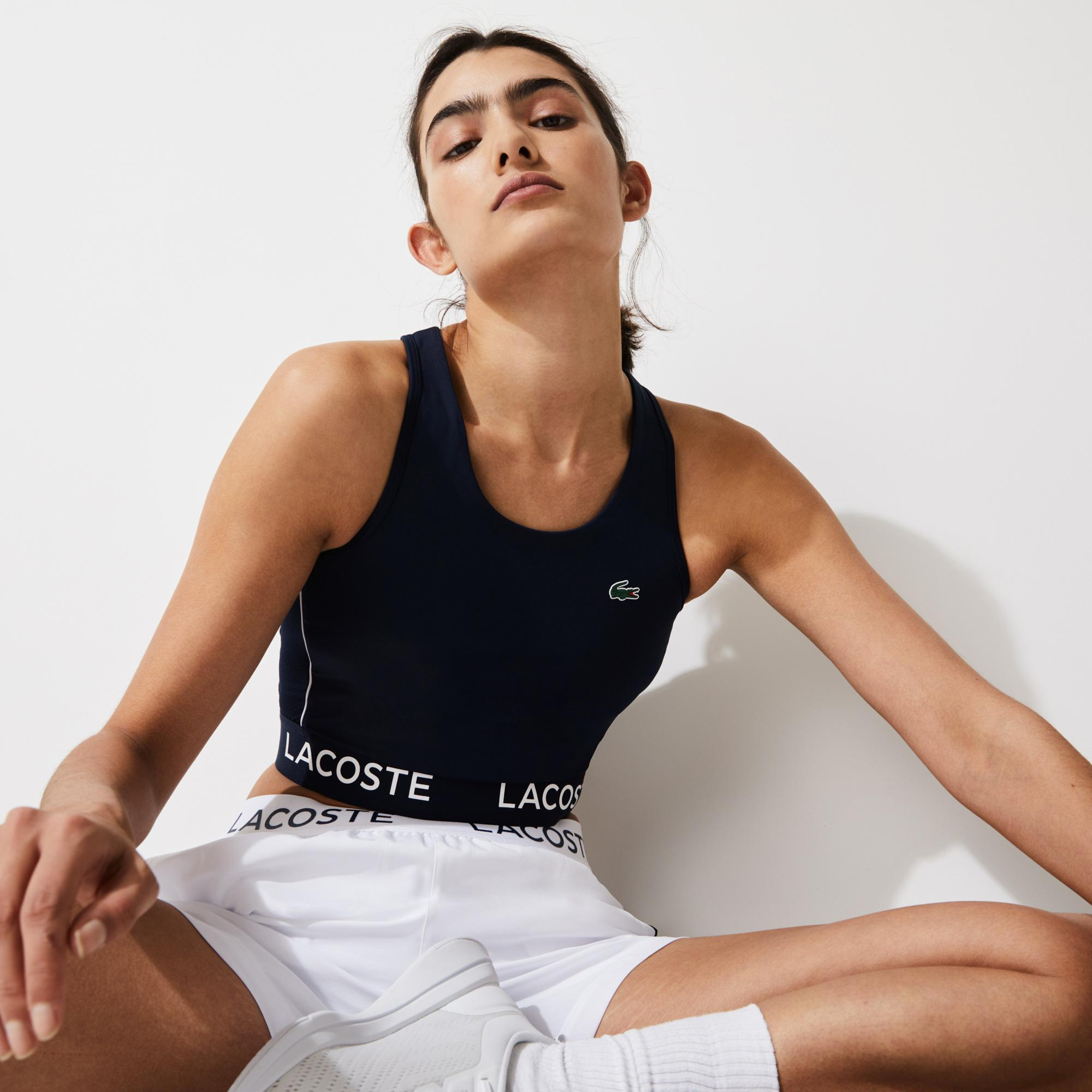 Lacoste Sport Kadın Kolsuz Askılı Baskılı Lacivert T-Shirt