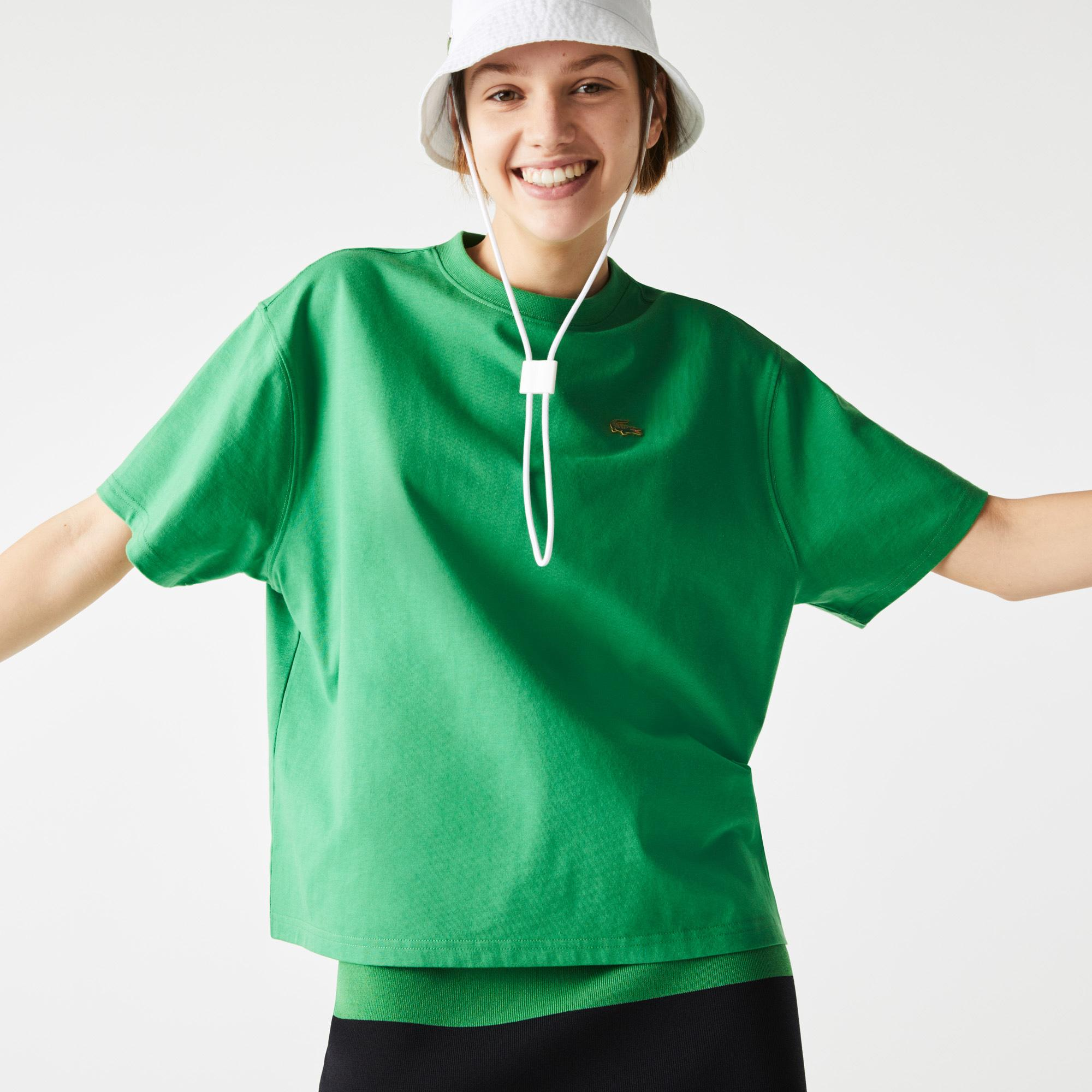 Lacoste L!ve Kadın Boxy Fit Bisiklet Yaka Yeşil T-Shirt