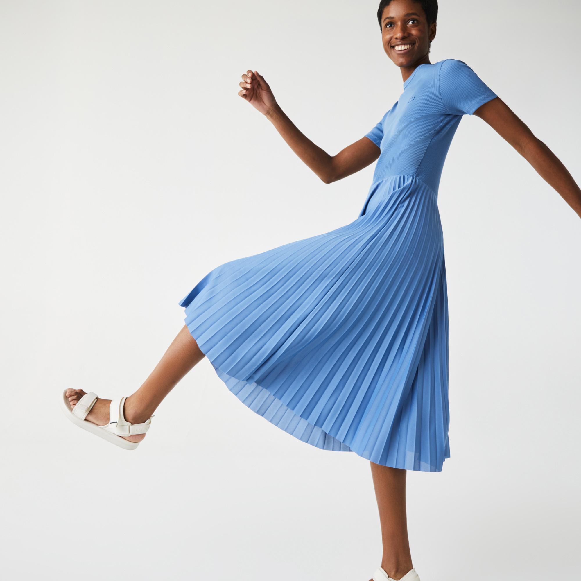 Lacoste Kadın Kısa Kollu Bisiklet Yaka Mavi Elbise