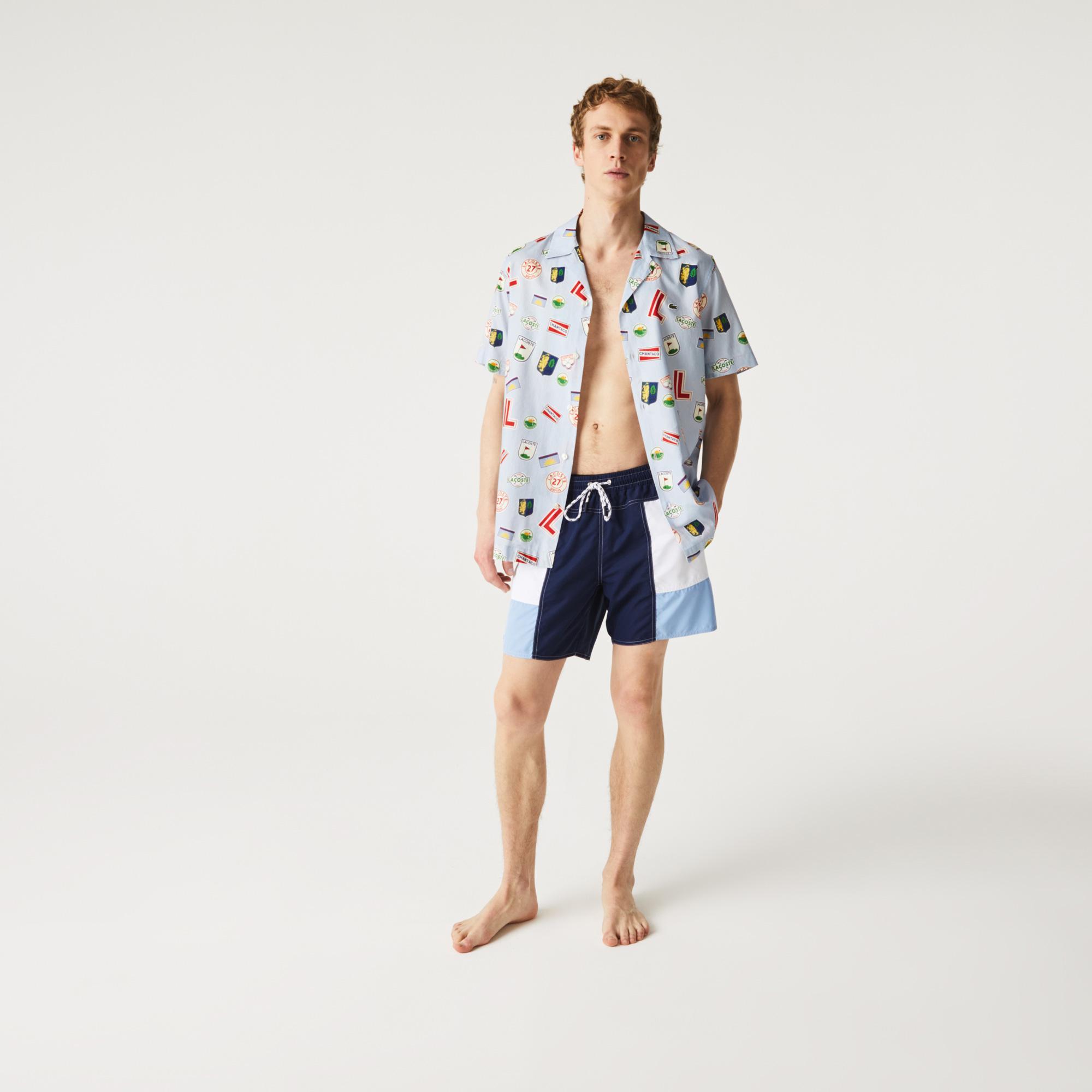 Lacoste Erkek Renk Bloklu Renkli Şort Mayo