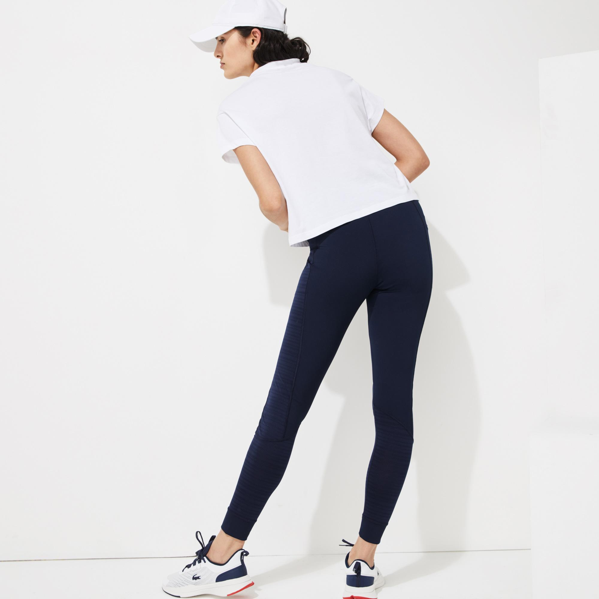 Lacoste Sport Roland Garros Kadın Boxy Fit Bisiklet Yaka Baskılı Beyaz T-Shirt