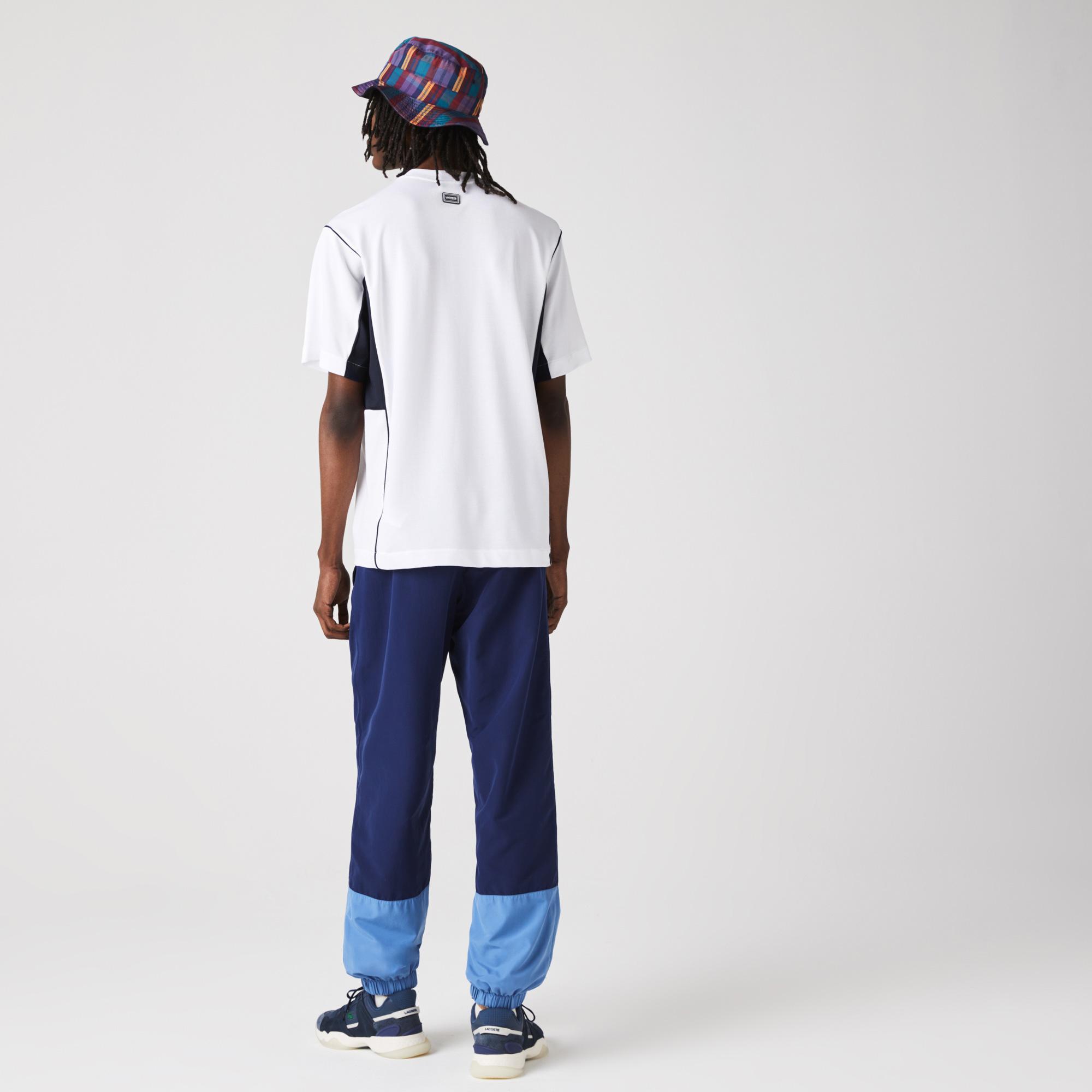 Lacoste Erkek Rahat Fit Bisiklet Yaka Renk Bloklu Beyaz - Lacivert T-Shirt
