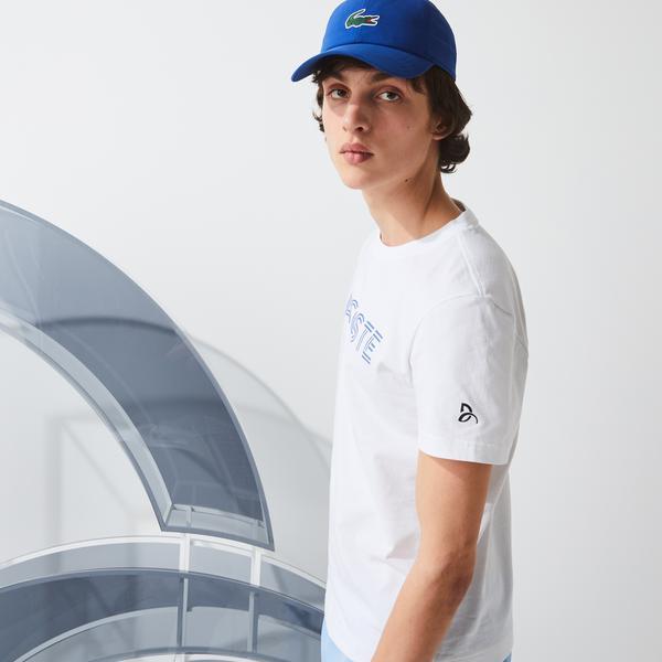 Lacoste Sport Novak Djokovic Erkek Bisiklet Yaka Baskılı Beyaz T-Shirt