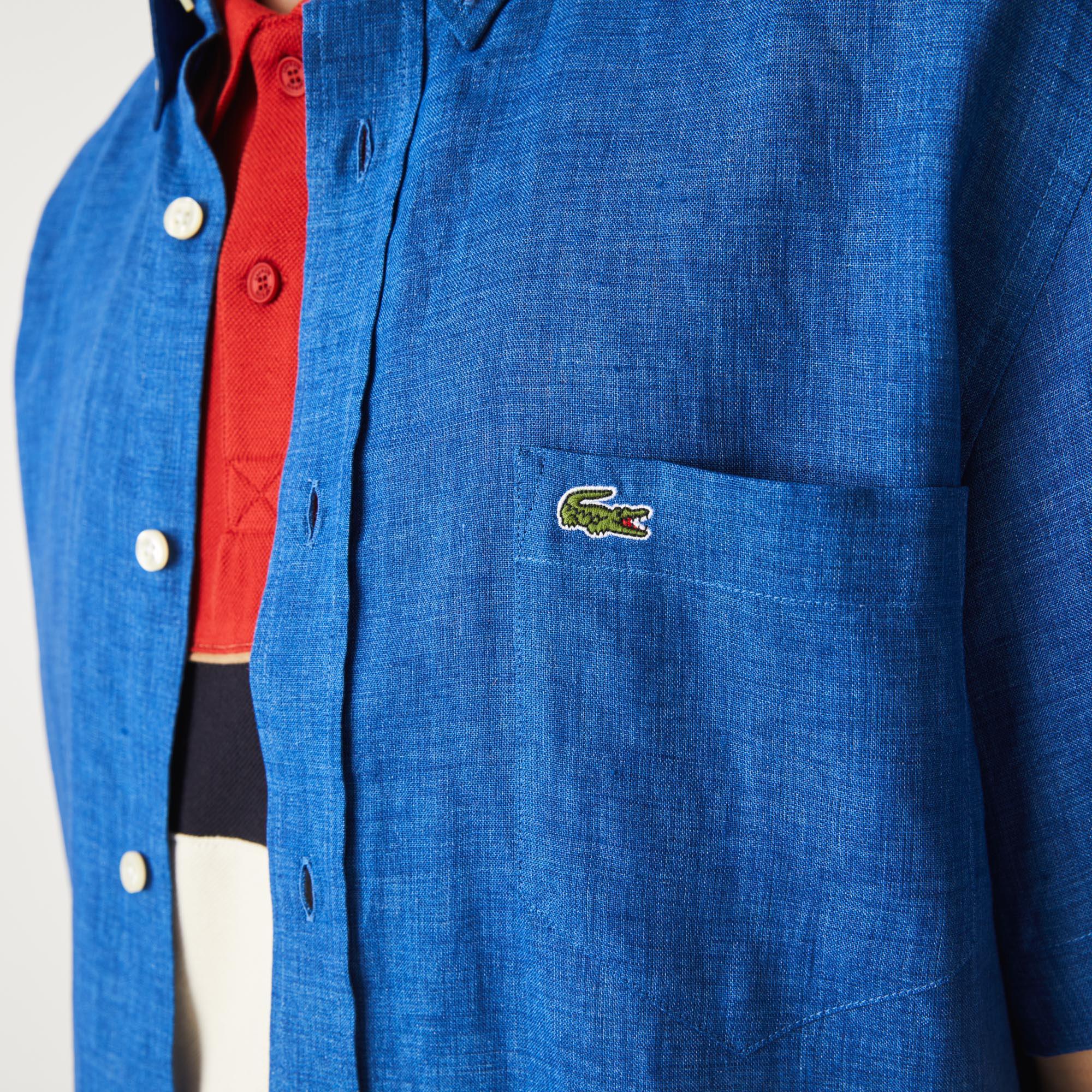Lacoste Erkek Regular Fit Keten Kısa Kollu Saks Mavi Gömlek