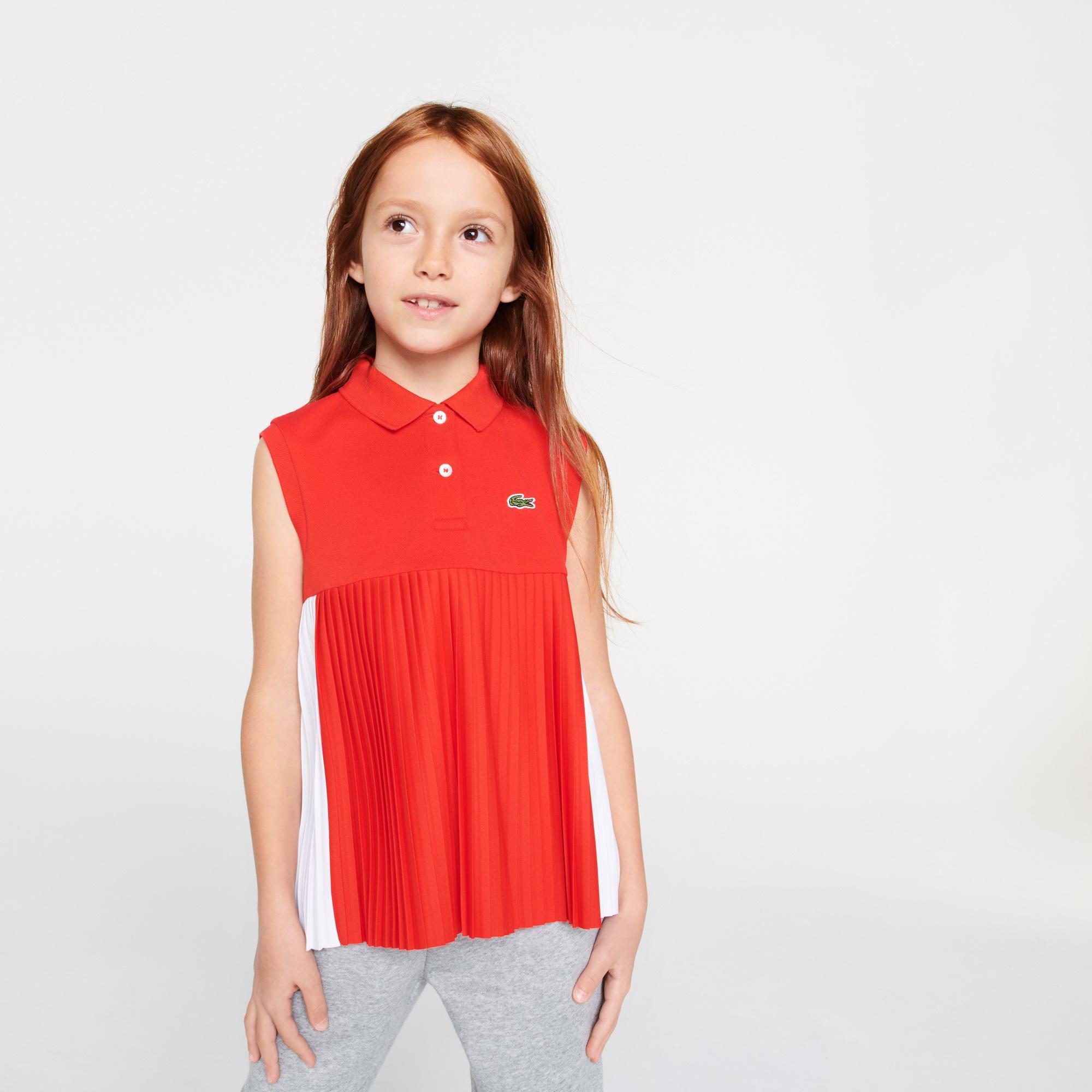 Lacoste Çocuk Kolsuz Pileli Kırmızı Polo